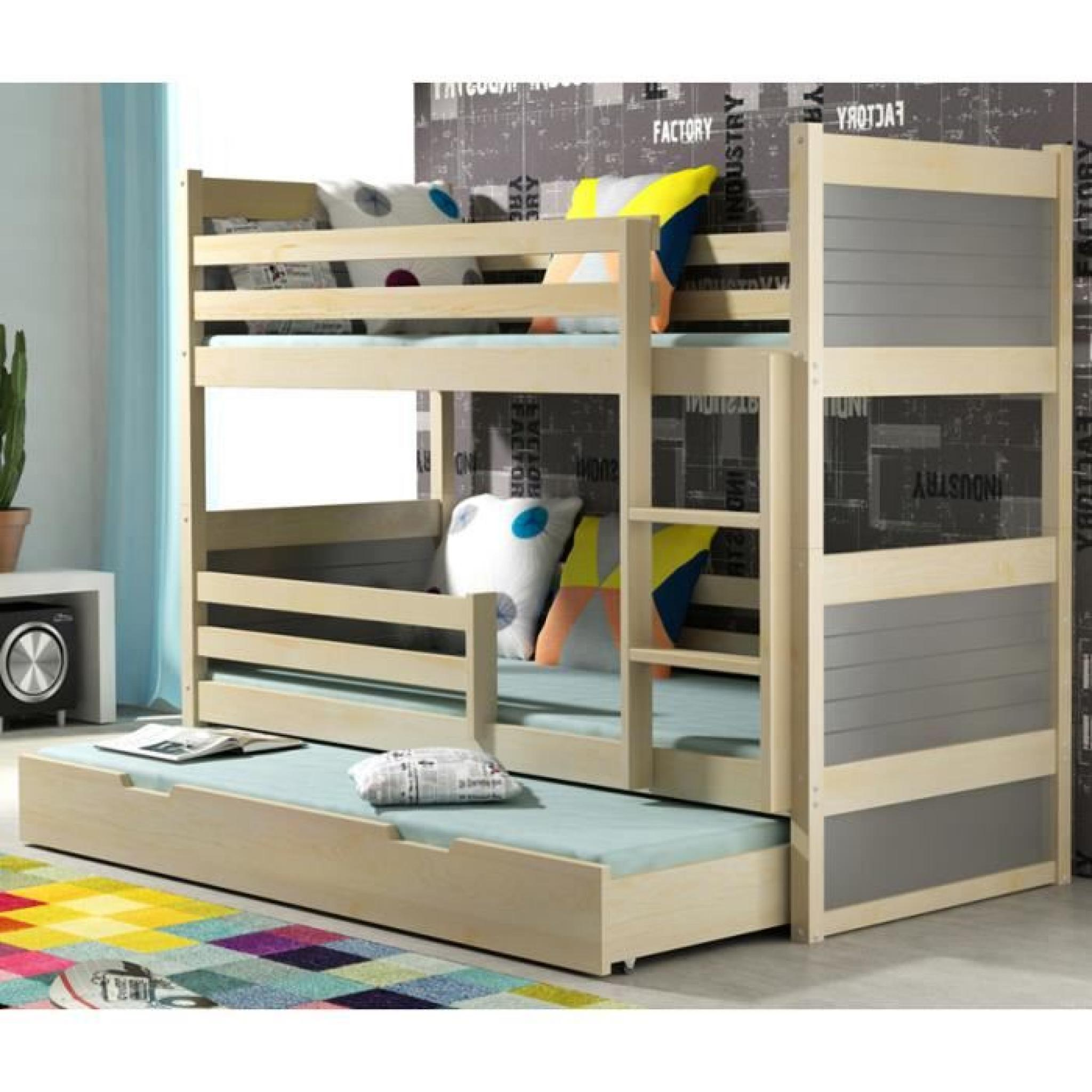 lit superpos rico 3 en pin 185x80 pin achat vente lit. Black Bedroom Furniture Sets. Home Design Ideas