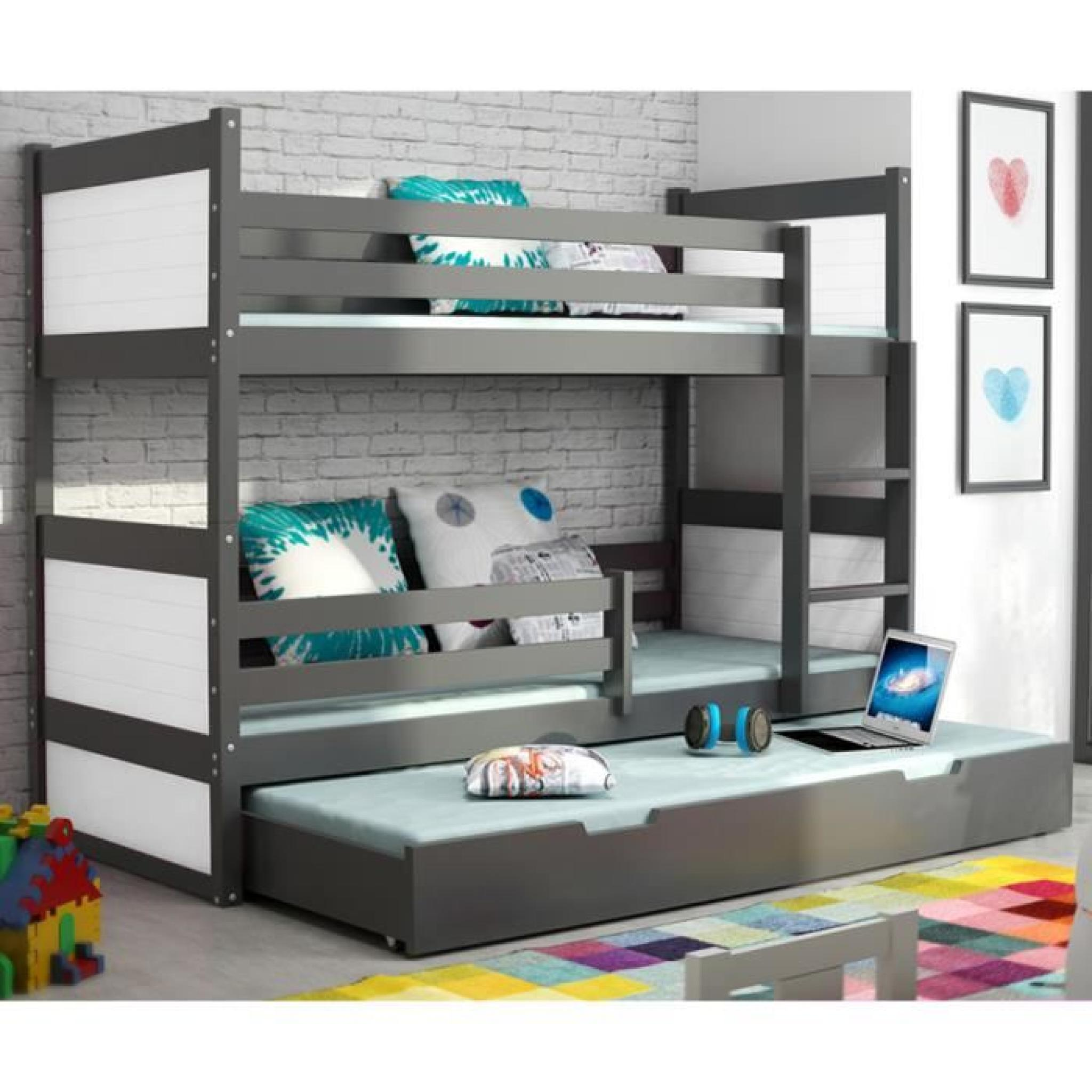 lit superpos rico 3 en pin 200x90 gris achat vente lit superpose pas cher couleur et. Black Bedroom Furniture Sets. Home Design Ideas
