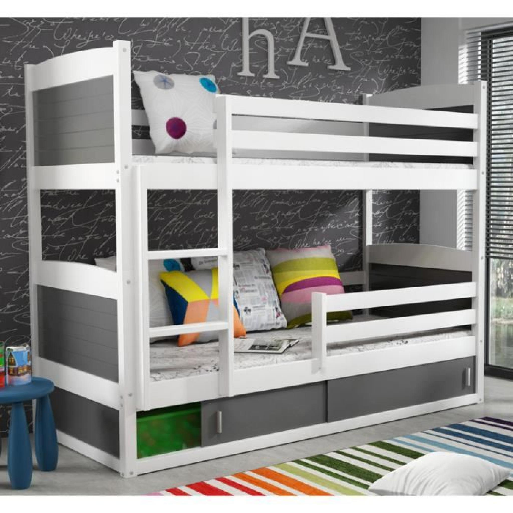 lit superpos rico en pin 200x90 blanc achat vente lit superpose pas cher couleur et. Black Bedroom Furniture Sets. Home Design Ideas