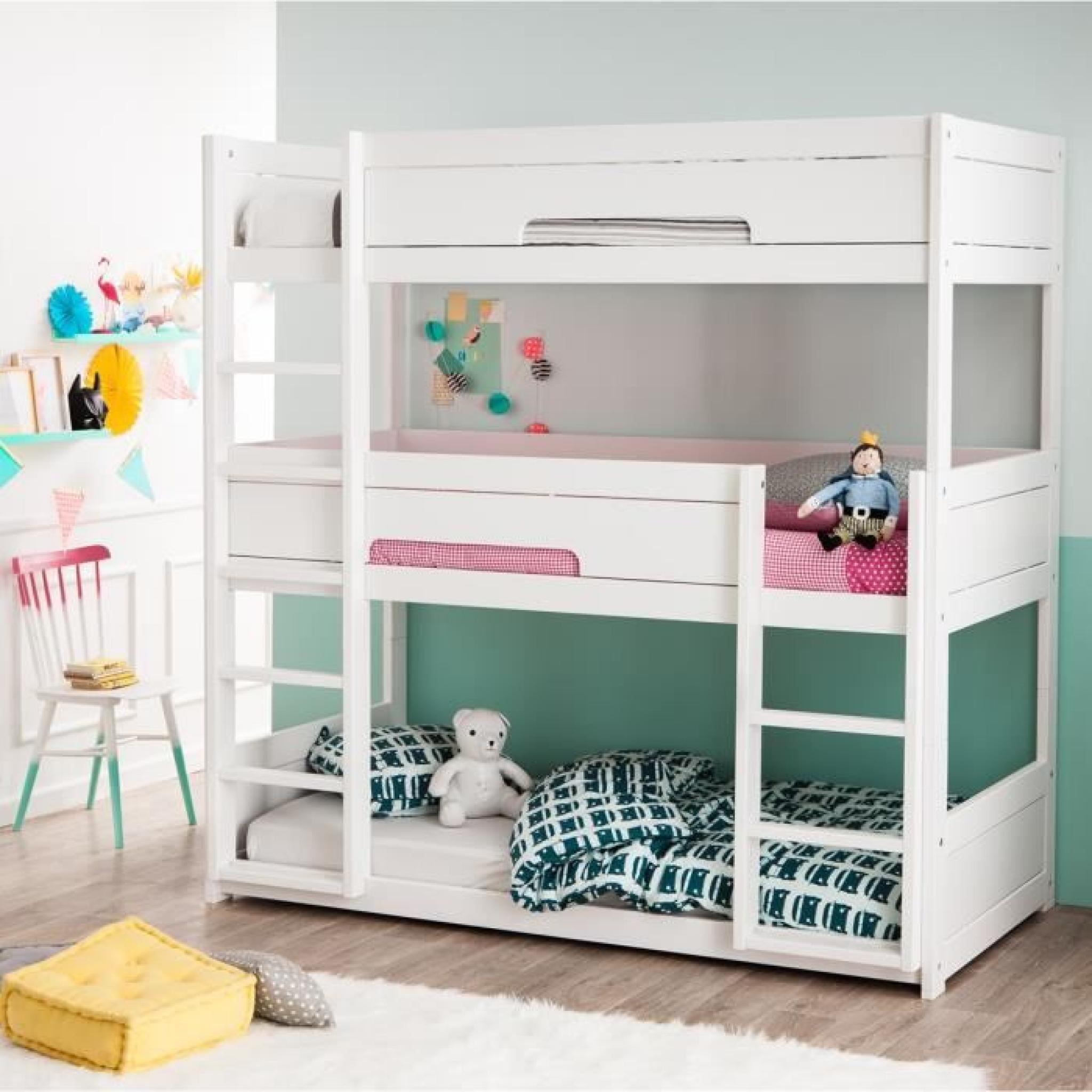lit superpos triple bois 90x200 hermes blanc couleur marketing blanc composition pin. Black Bedroom Furniture Sets. Home Design Ideas
