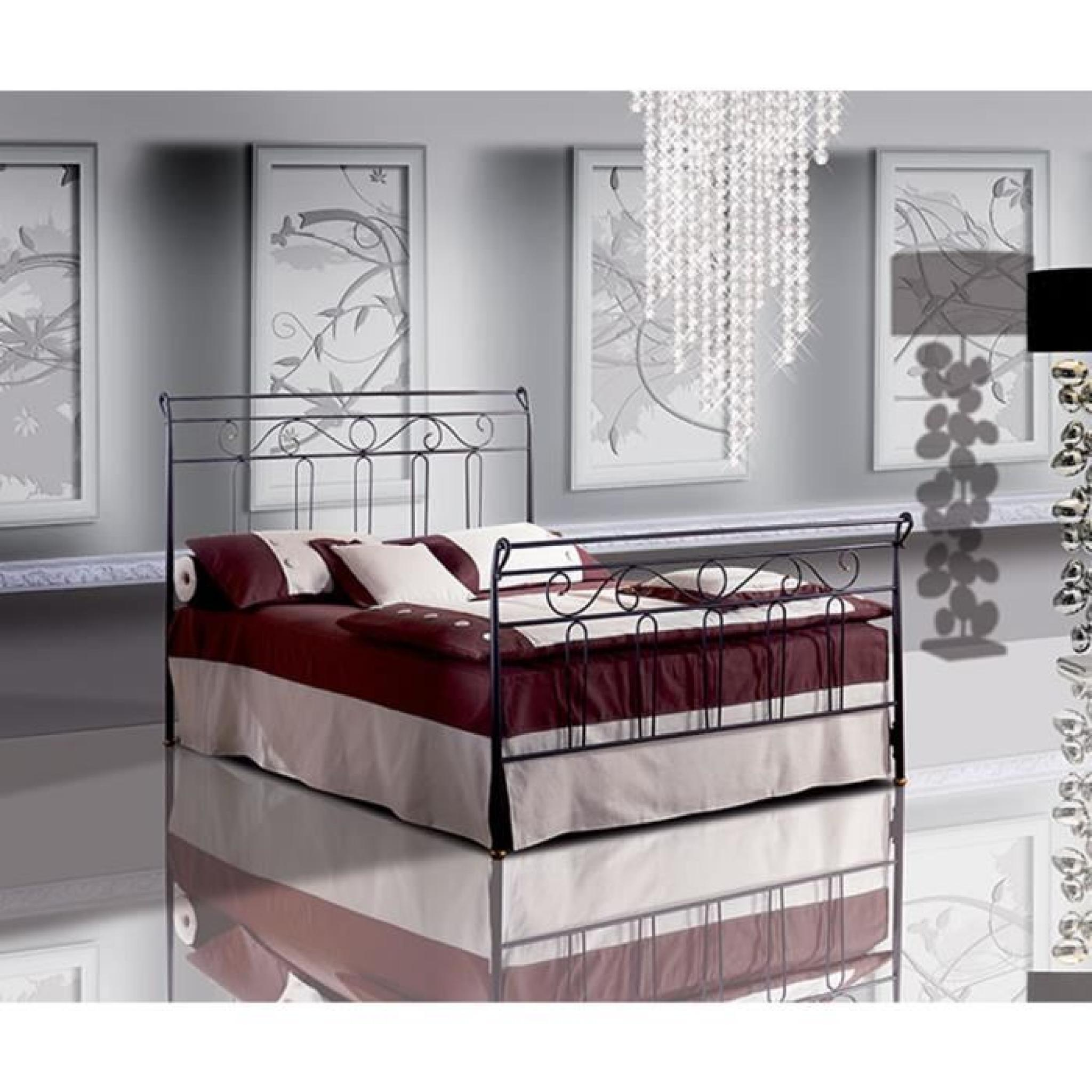 lit une place et demie en fer forg garofano t te de lit avec coffre achat vente lit pas cher. Black Bedroom Furniture Sets. Home Design Ideas