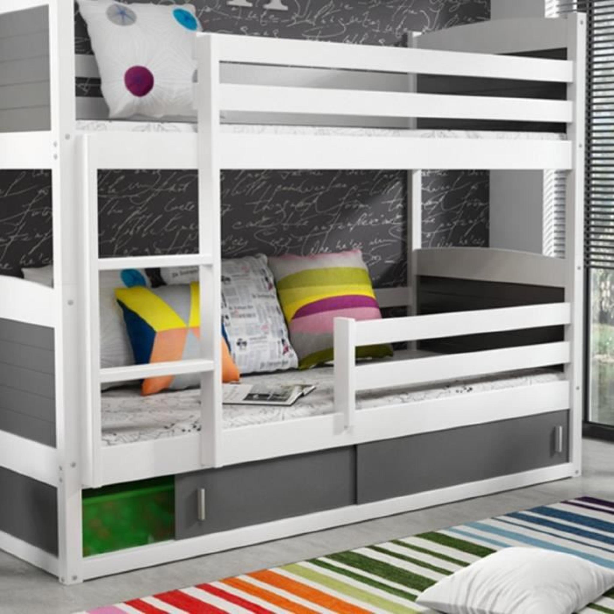 lits superpos s blanc et gris 200 x 90 cm kiko achat vente lit superpose pas cher couleur et. Black Bedroom Furniture Sets. Home Design Ideas