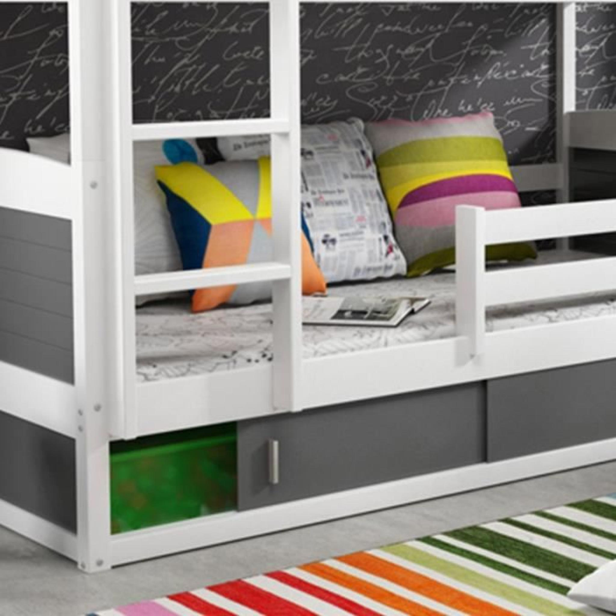 lits superpos s blanc et gris 200 x 90 cm kiko achat. Black Bedroom Furniture Sets. Home Design Ideas