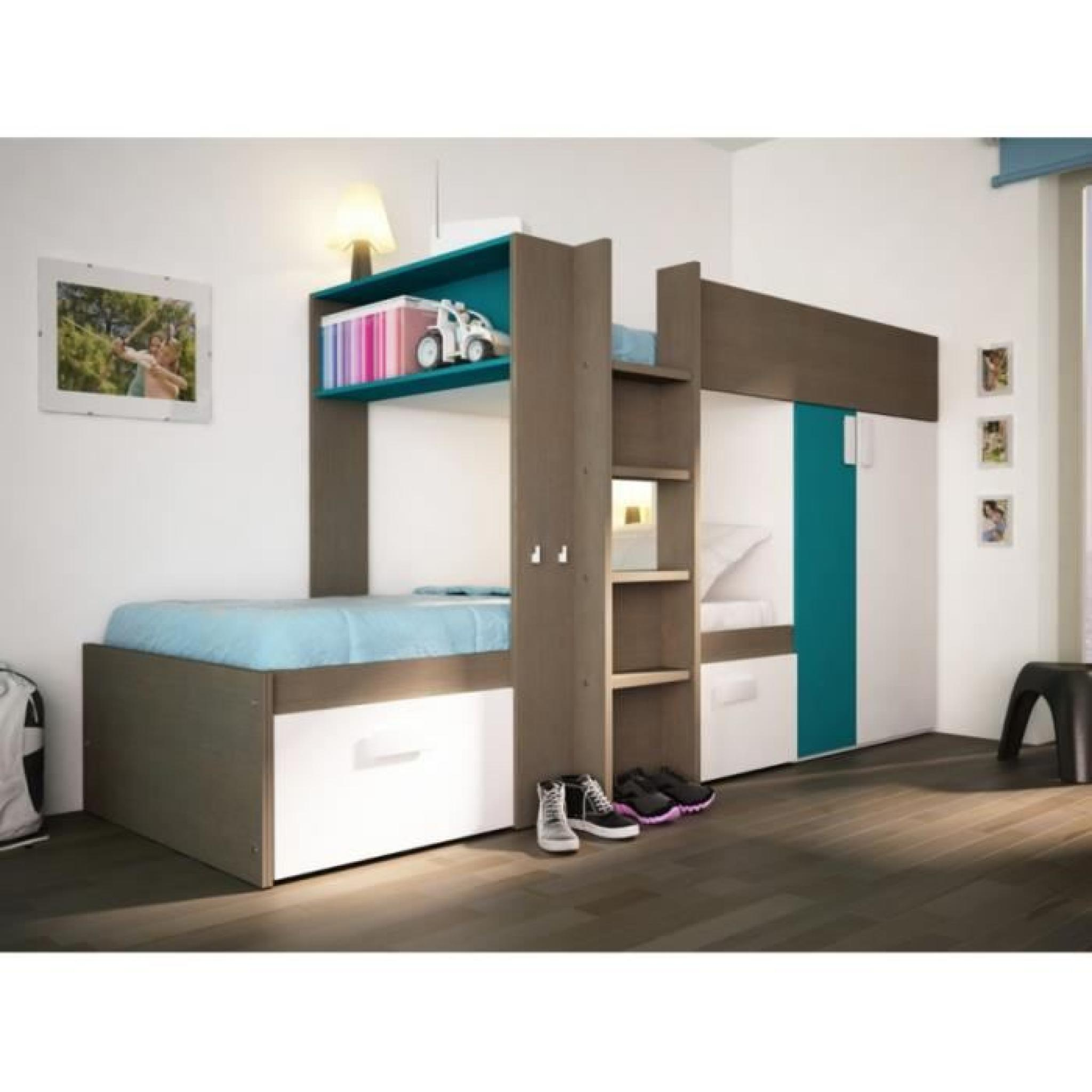 lits superpos s julien 2x90x190cm armoire int gr e taupe et bleu achat vente lit. Black Bedroom Furniture Sets. Home Design Ideas