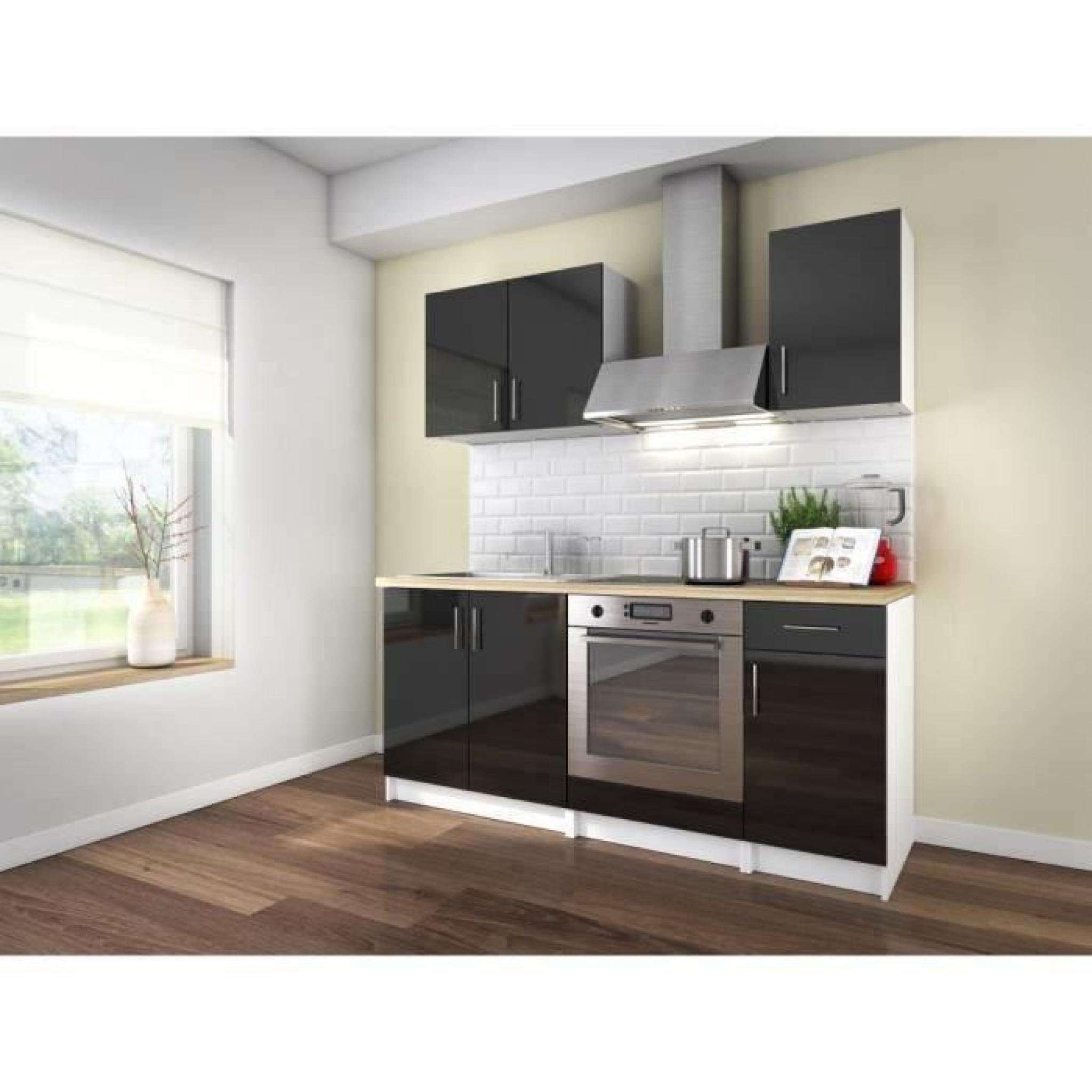 loft cuisine compl te 1m80 laqu noir haute brillance achat vente cuisine complete pas cher. Black Bedroom Furniture Sets. Home Design Ideas