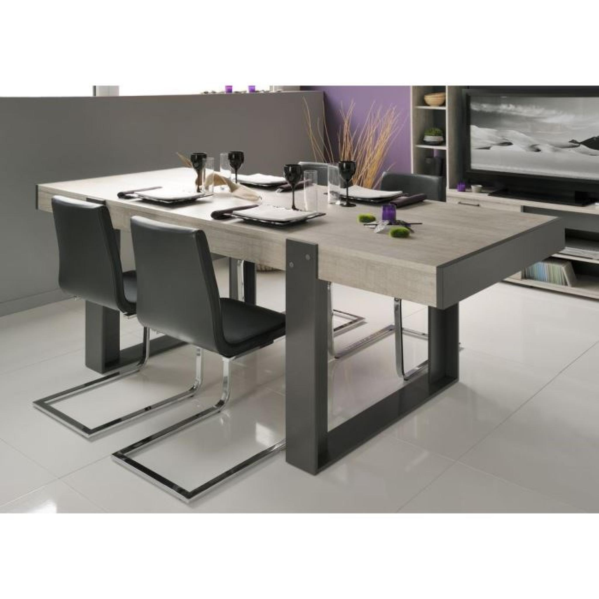 Loft salle manger compl te d cor gris 3 pi ces 1 table for Ensemble buffet table manger