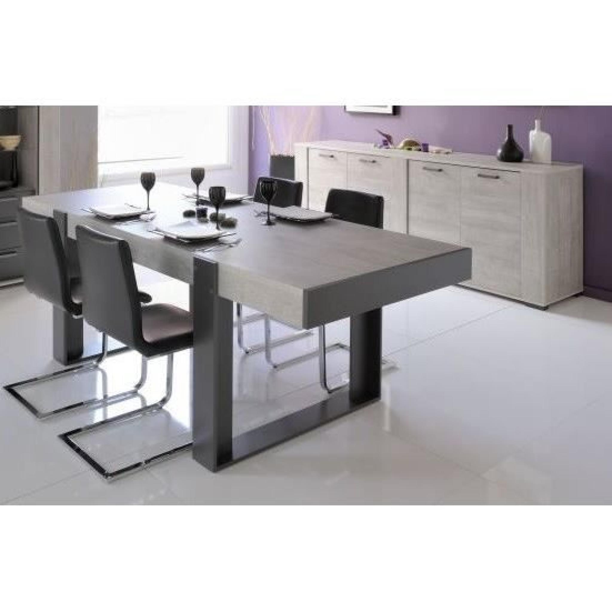 loft salle manger compl te d cor gris 2 pi ces 1 table 1 buffet bas achat vente ensemble. Black Bedroom Furniture Sets. Home Design Ideas