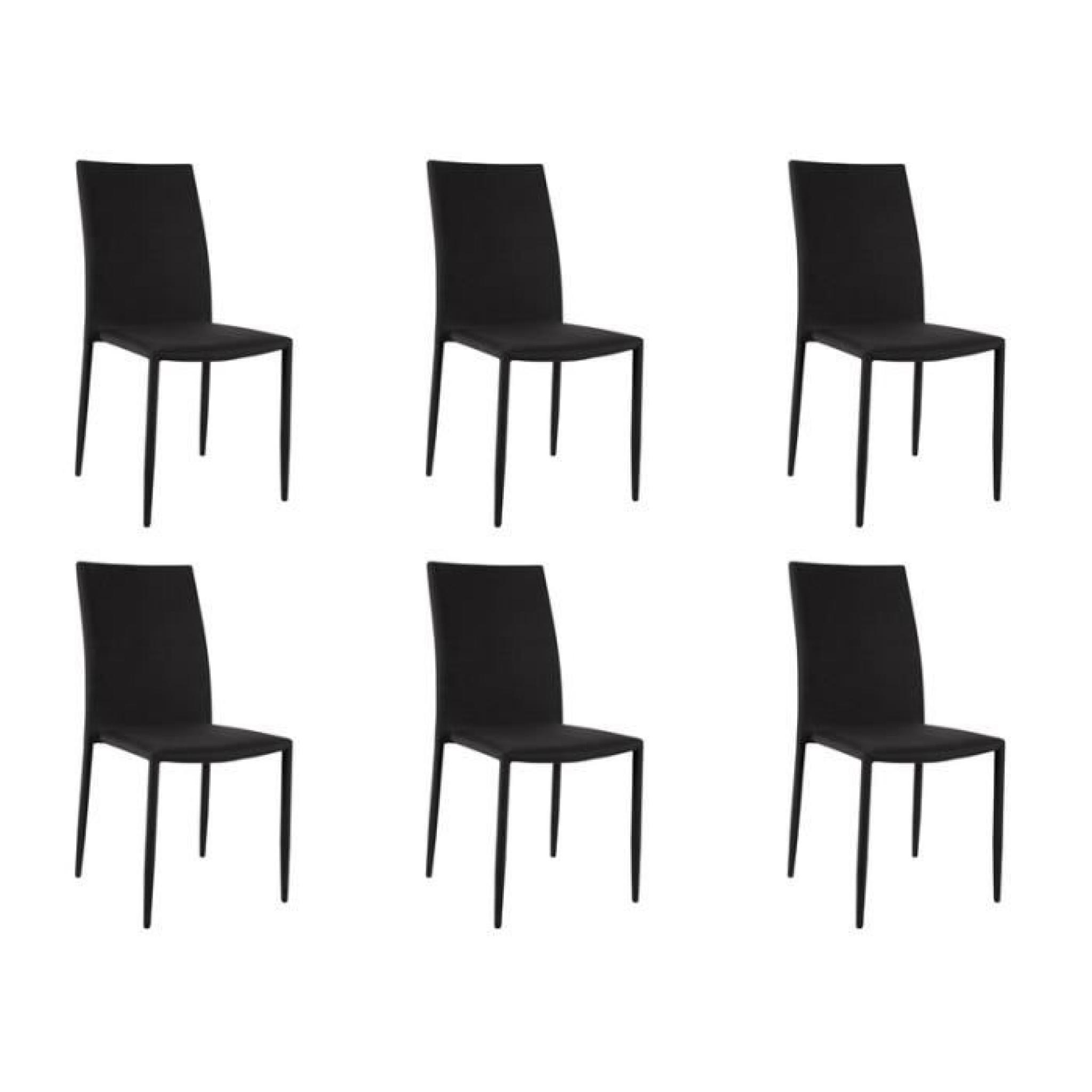 loola lot 6 chaises noires achat vente chaise salle a. Black Bedroom Furniture Sets. Home Design Ideas