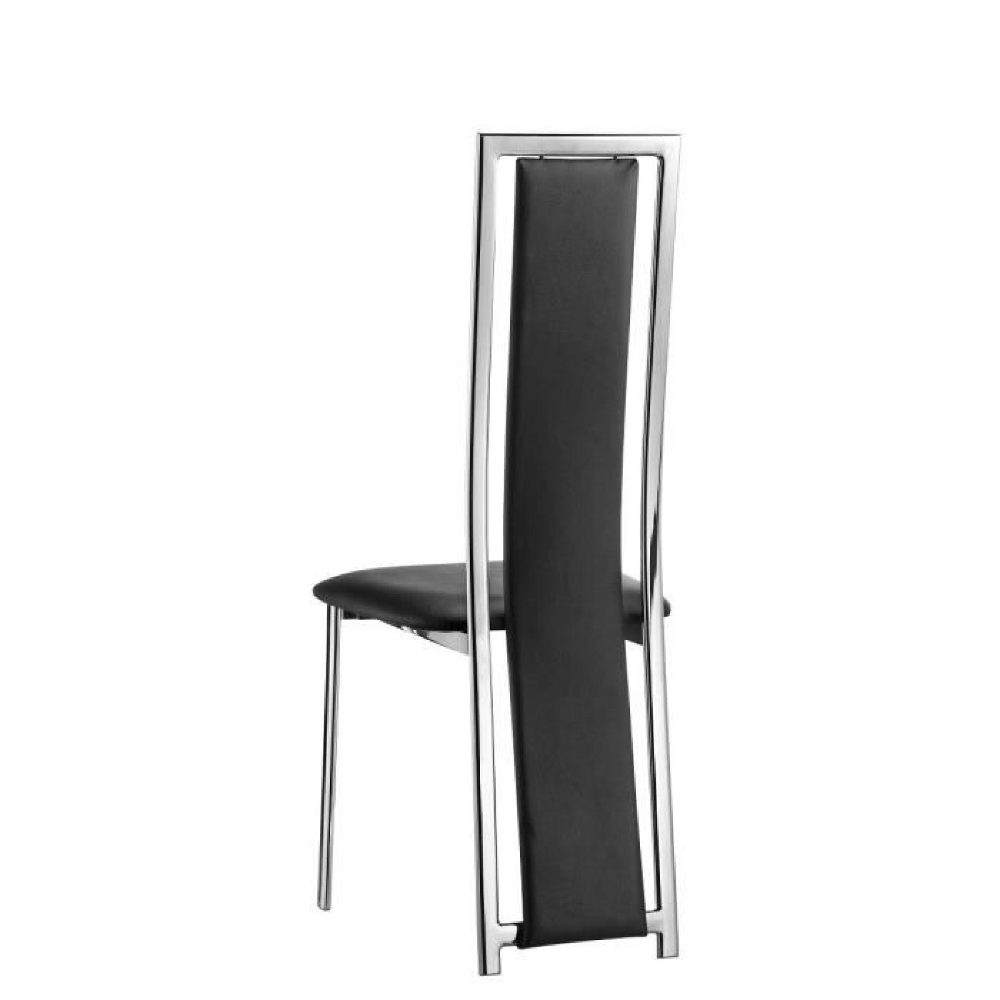 LORD Lot de 2 chaises de salle à manger en tissu noir ...