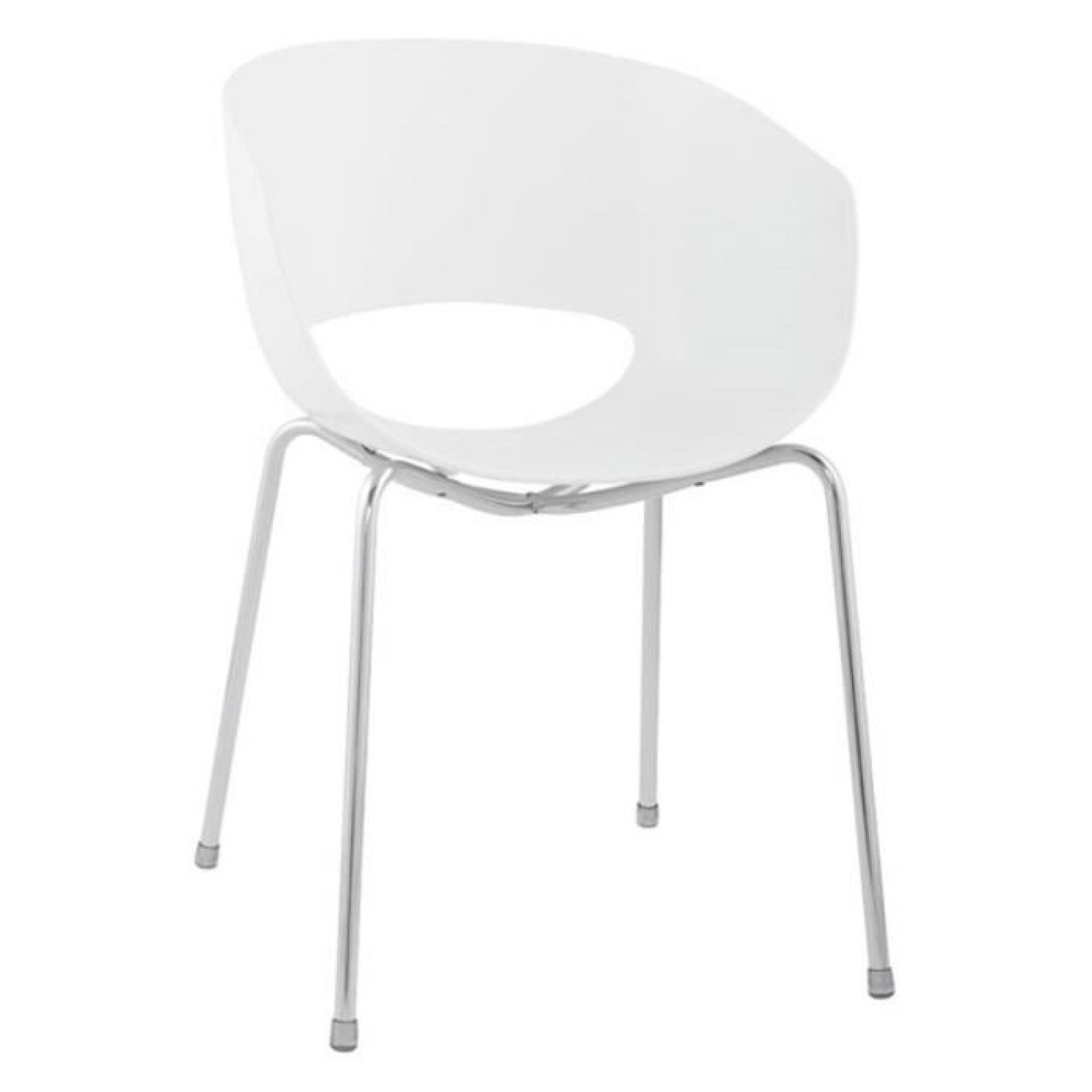 Lot 4 Chaise Design Soft Coque Plastique Blanc
