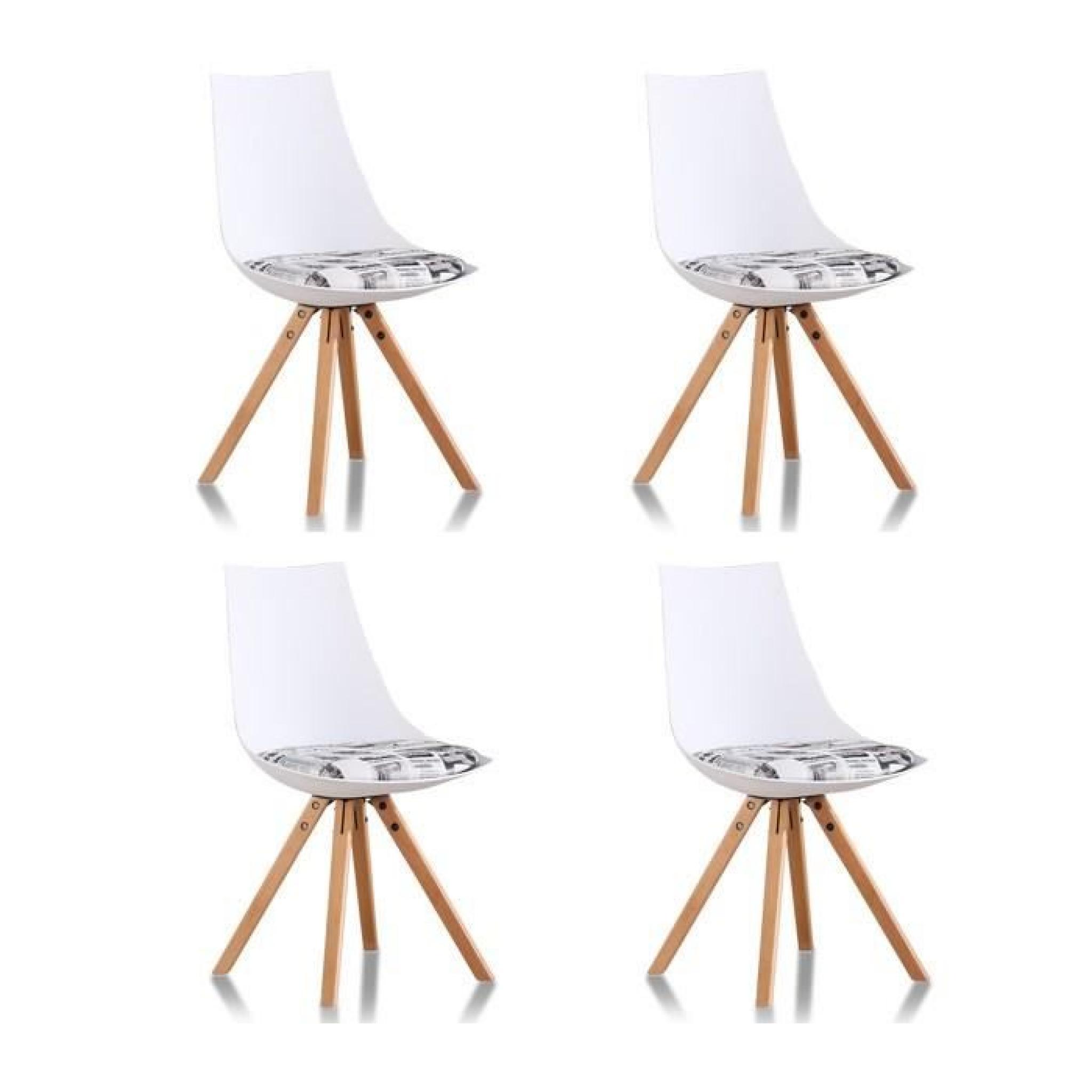 Lot 4 chaises design blanches minsk achat vente chaise - Lot 4 chaises pas cher ...