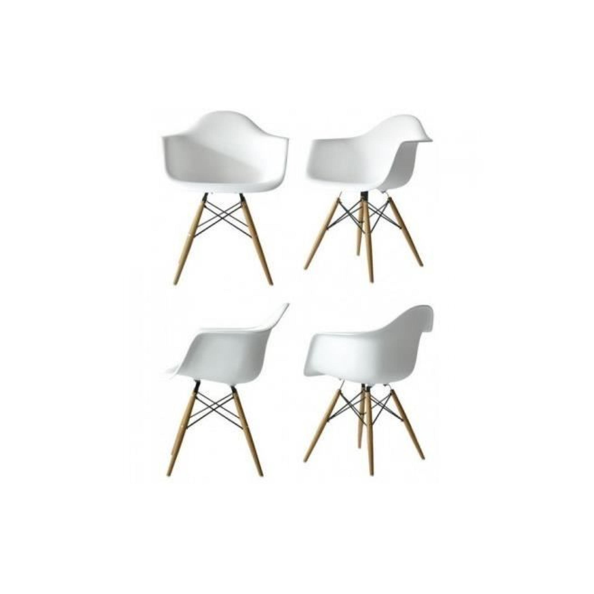 Lot 6 Chaises Blanches - Inspirées Fauteuil DAW par Eames - Achat ...