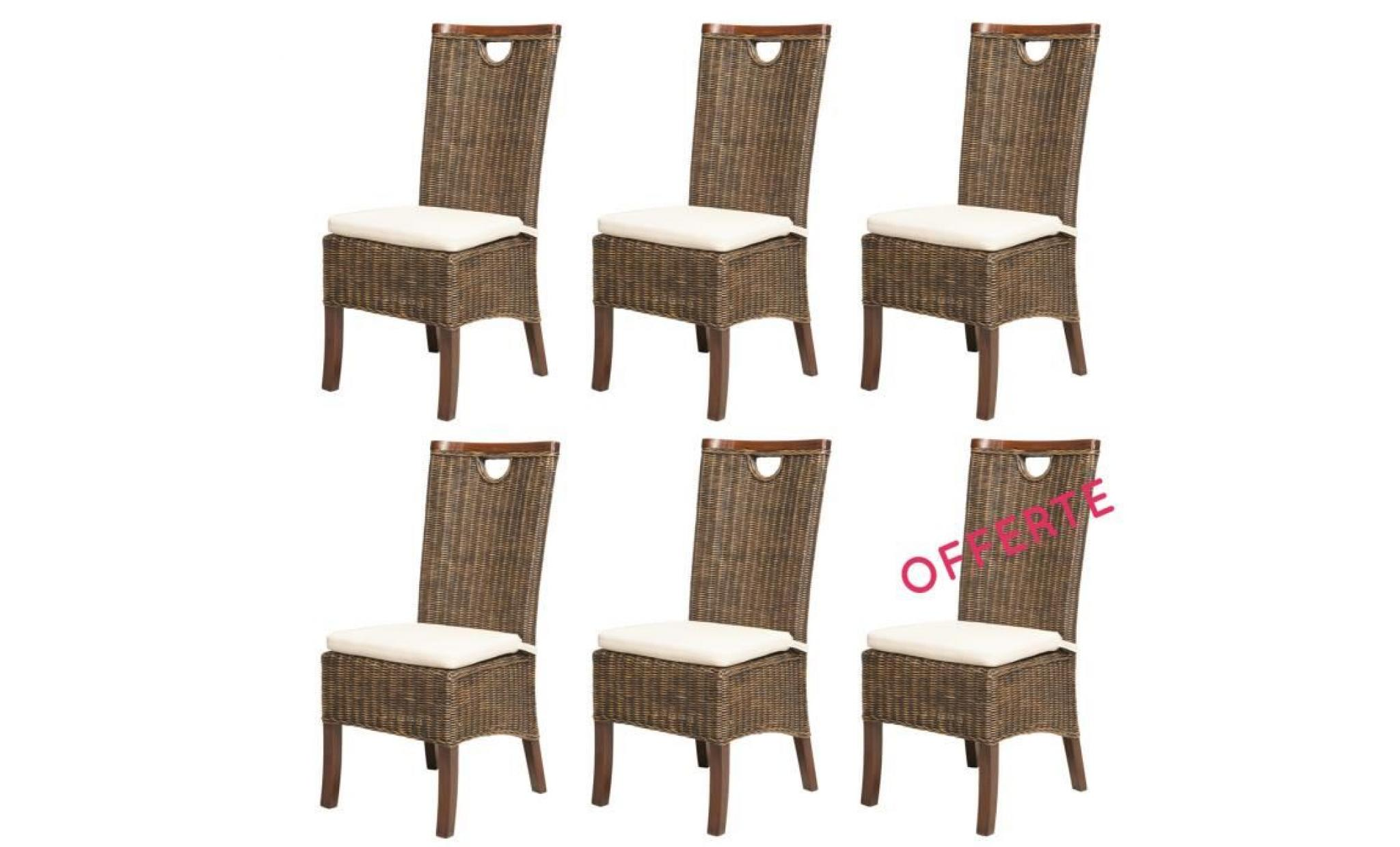 Lot 6 Chaises Racine Moka