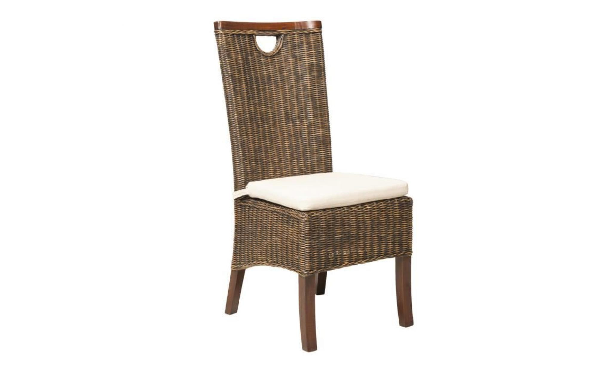 Lot 6 chaises racine moka rotin achat vente chaise Chaise de salle a manger en rotin pas cher