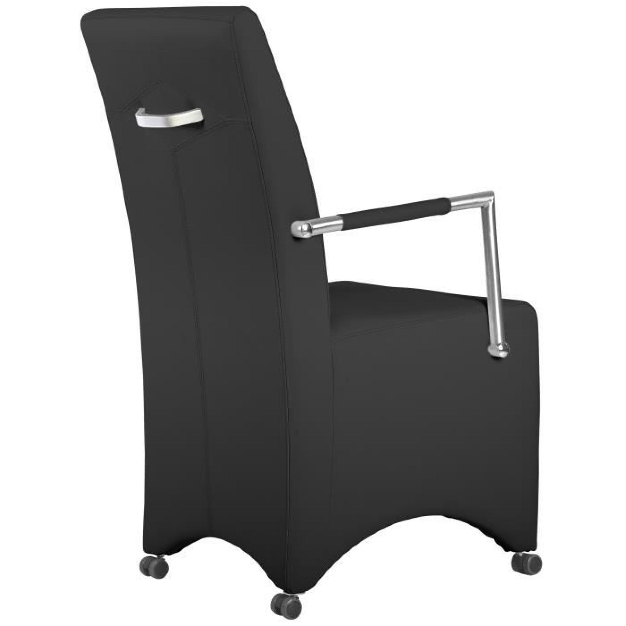 Lot De 2 Chaises à Roulette Ultra Moderne Noir Pas Cher