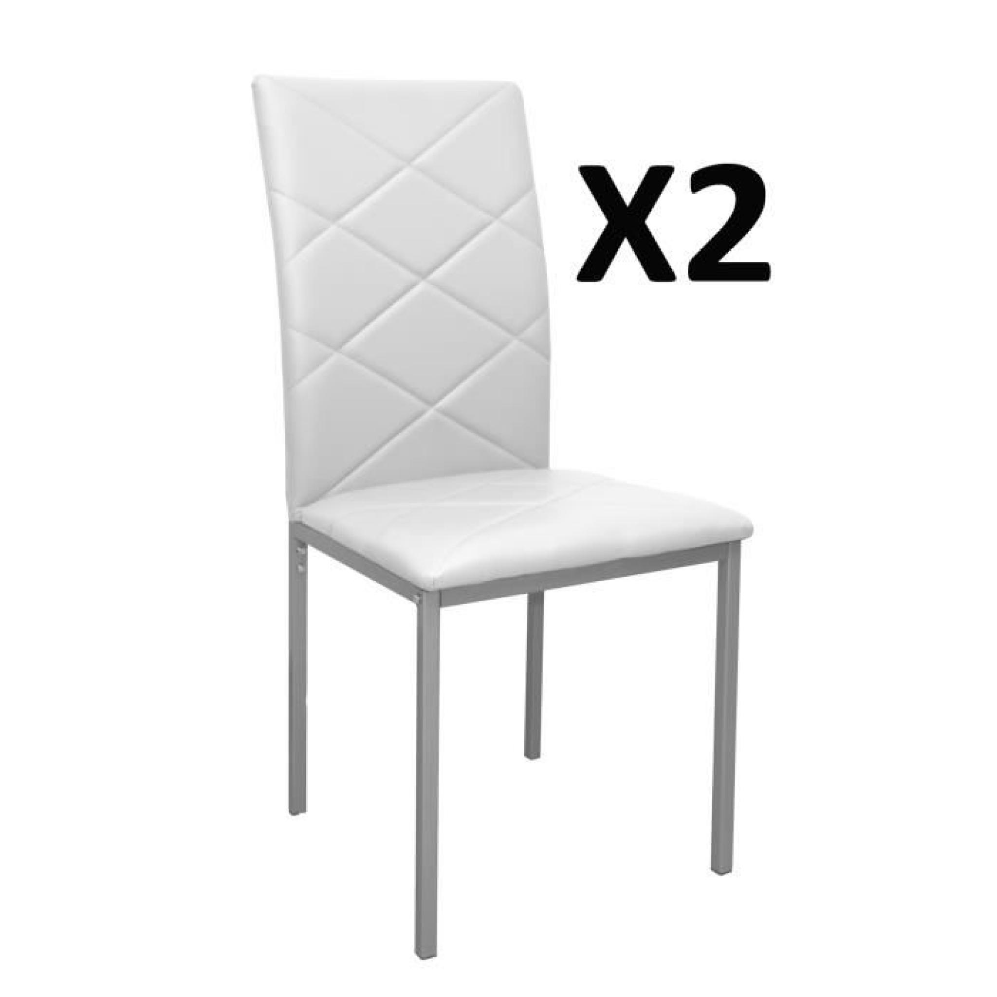 lot de 2 chaises blanche rev tement pu 510 x 430 x 950 mm achat vente chaise salle a manger. Black Bedroom Furniture Sets. Home Design Ideas