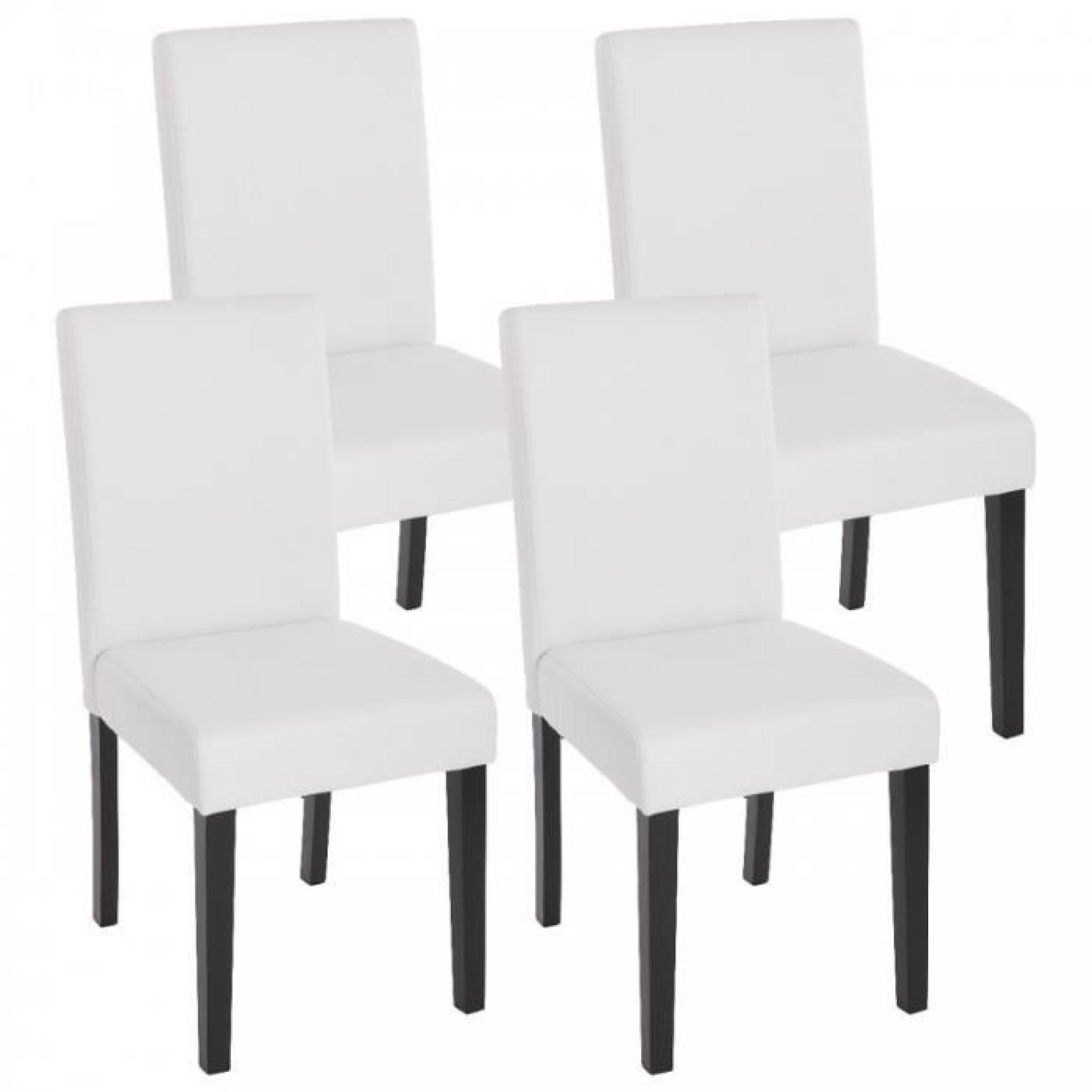 de manger chaises Lot foncés CDS04137 pieds mat cuir salle simili blanc à 4 de wPv80ynOmN