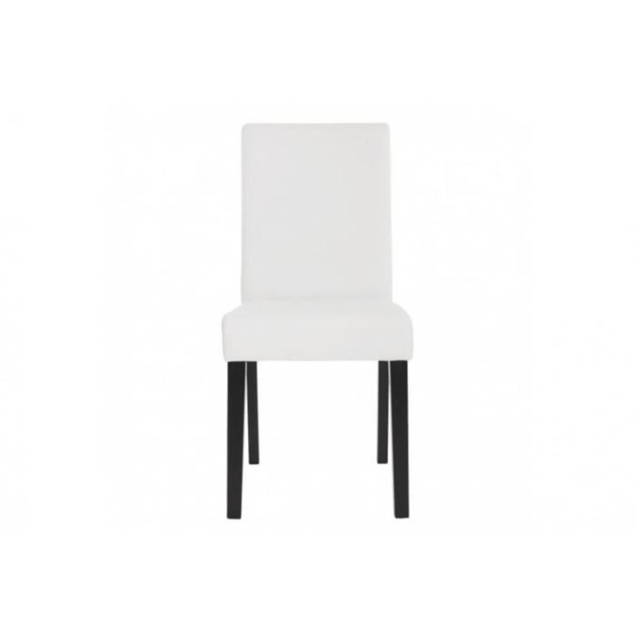Lot de 4 chaises de salle à manger simili cuir blanc mat pieds foncés CDS04137