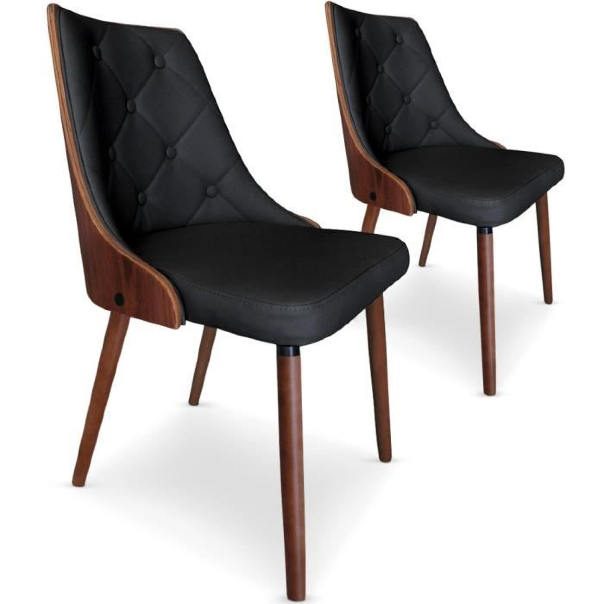 lot de 2 chaises scandinaves cadix bois noisette noir - Chaises Scandinaves Couleur