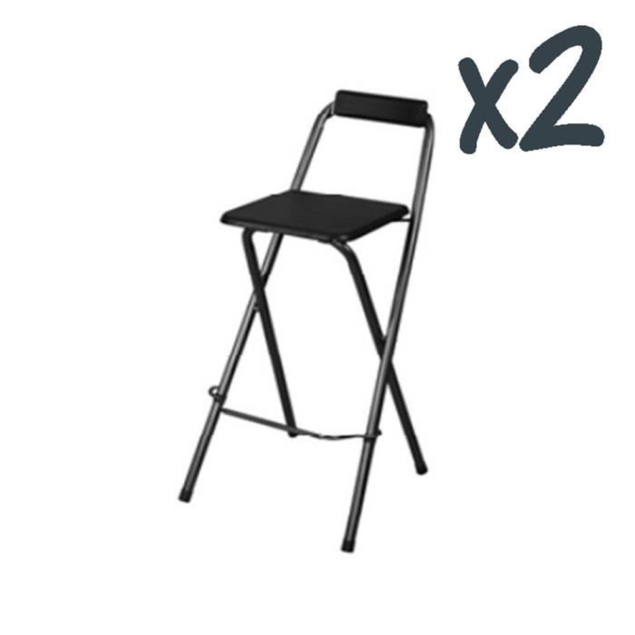 lot de 2 chaises de bar louna noir structure en m tal assise en panneaux de fibres de bois. Black Bedroom Furniture Sets. Home Design Ideas