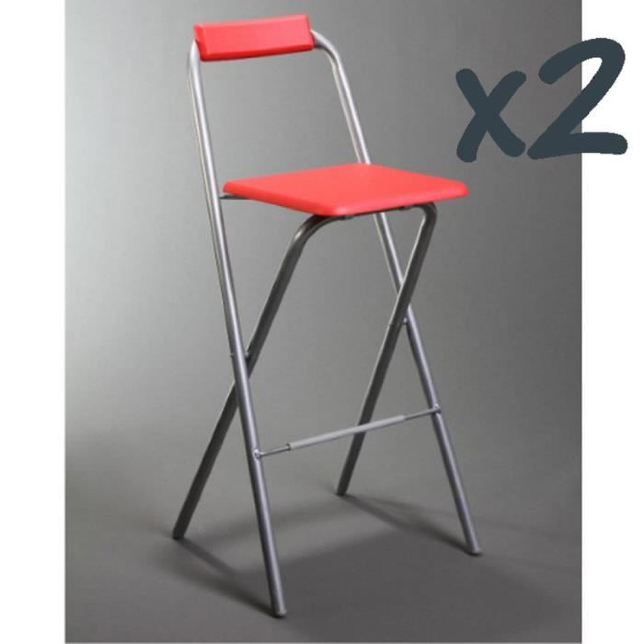 Lot de 2 chaises de bar louna rouge structure en m tal - Chaises de bar rouge ...