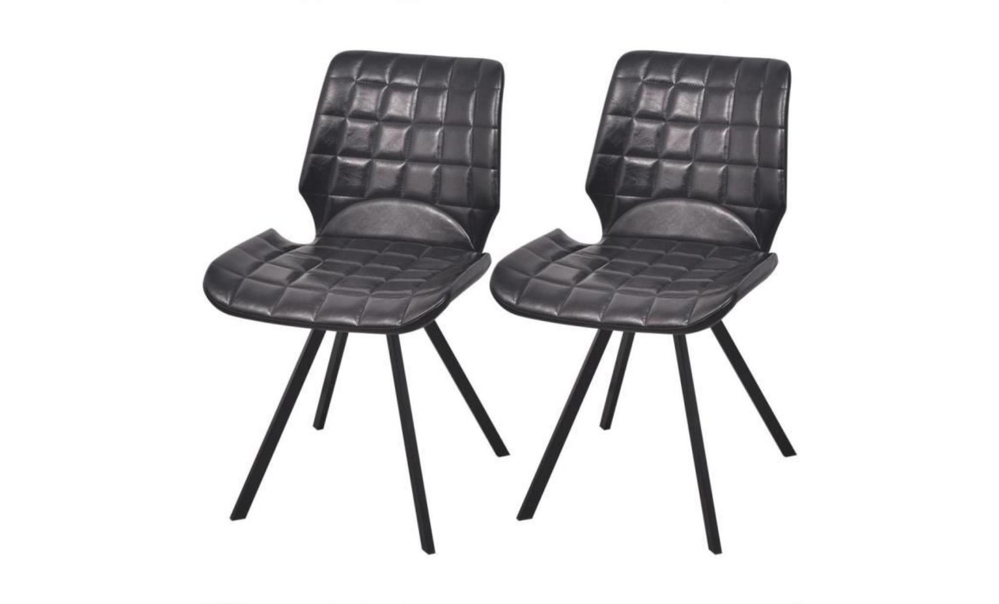Lot de 2 chaises de salle manger en cuir artificiel achat vente chaise salle a manger pas - Chaise de salle a manger en cuir ...