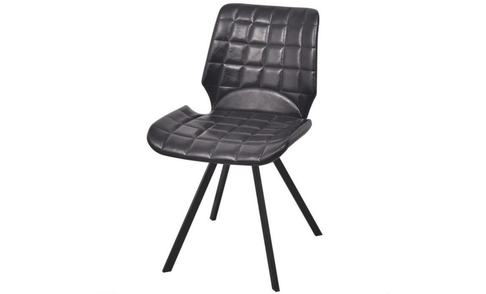 Lot de 2 chaises de salle manger en cuir artificiel for Lot de 8 chaise pas cher