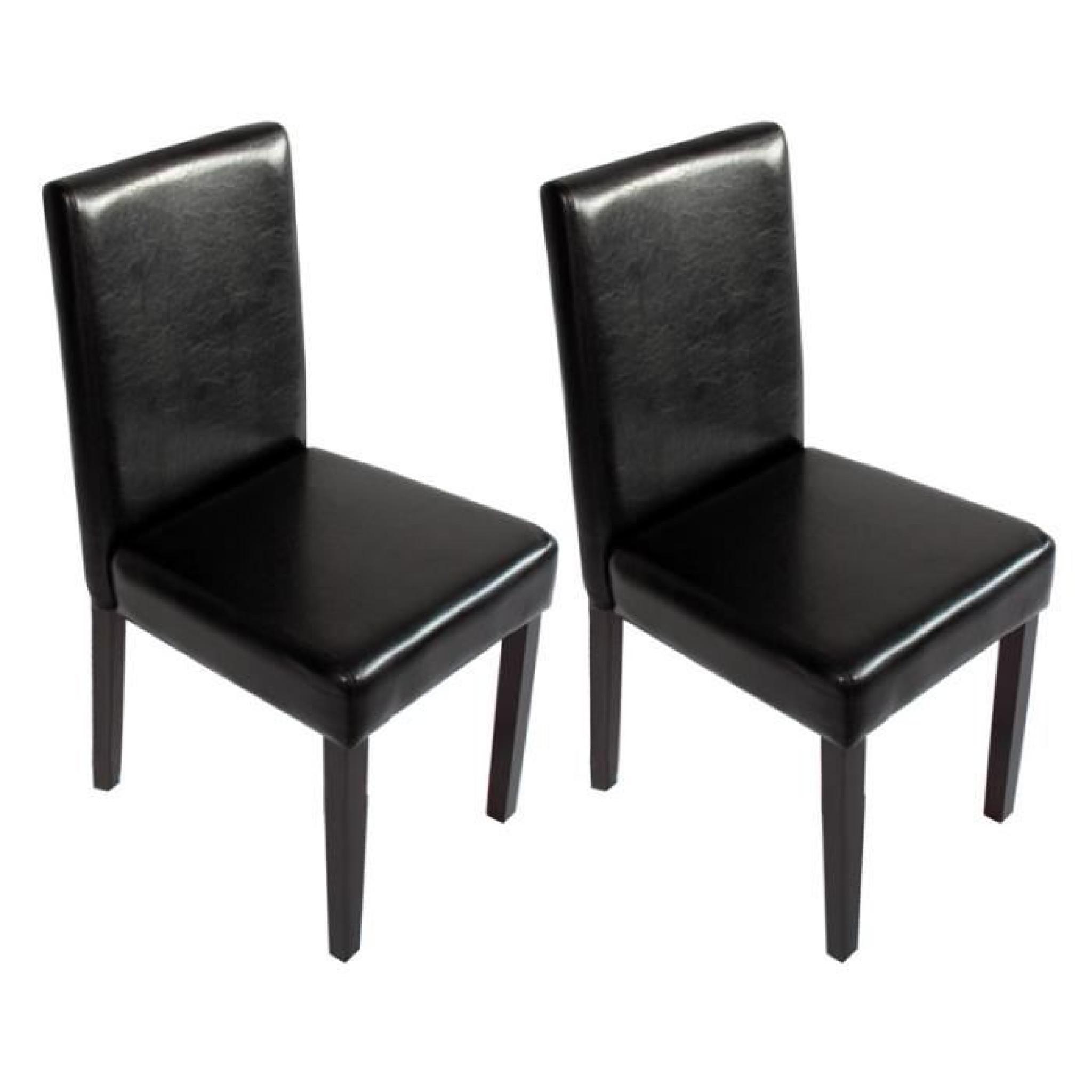Lot de 2 chaises de s jour littau pu noir pieds fonc s - Chaise sejour pas cher ...