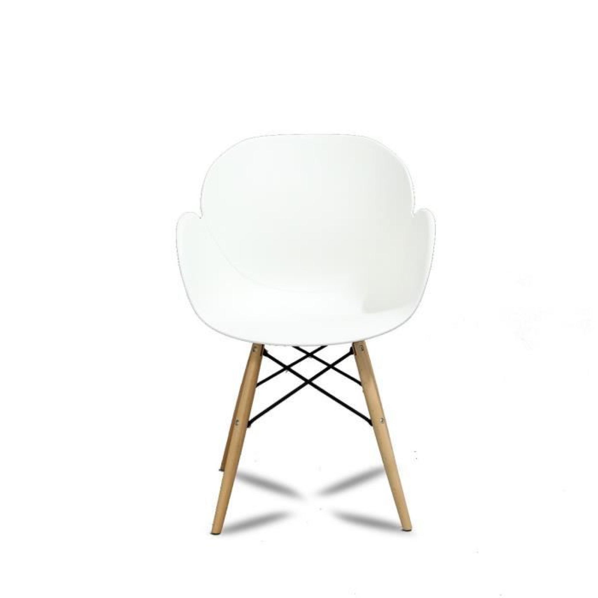 Lot de 2 chaises design ki oon couleur blanc achat vente for Chaise salle manger blanc pas cher