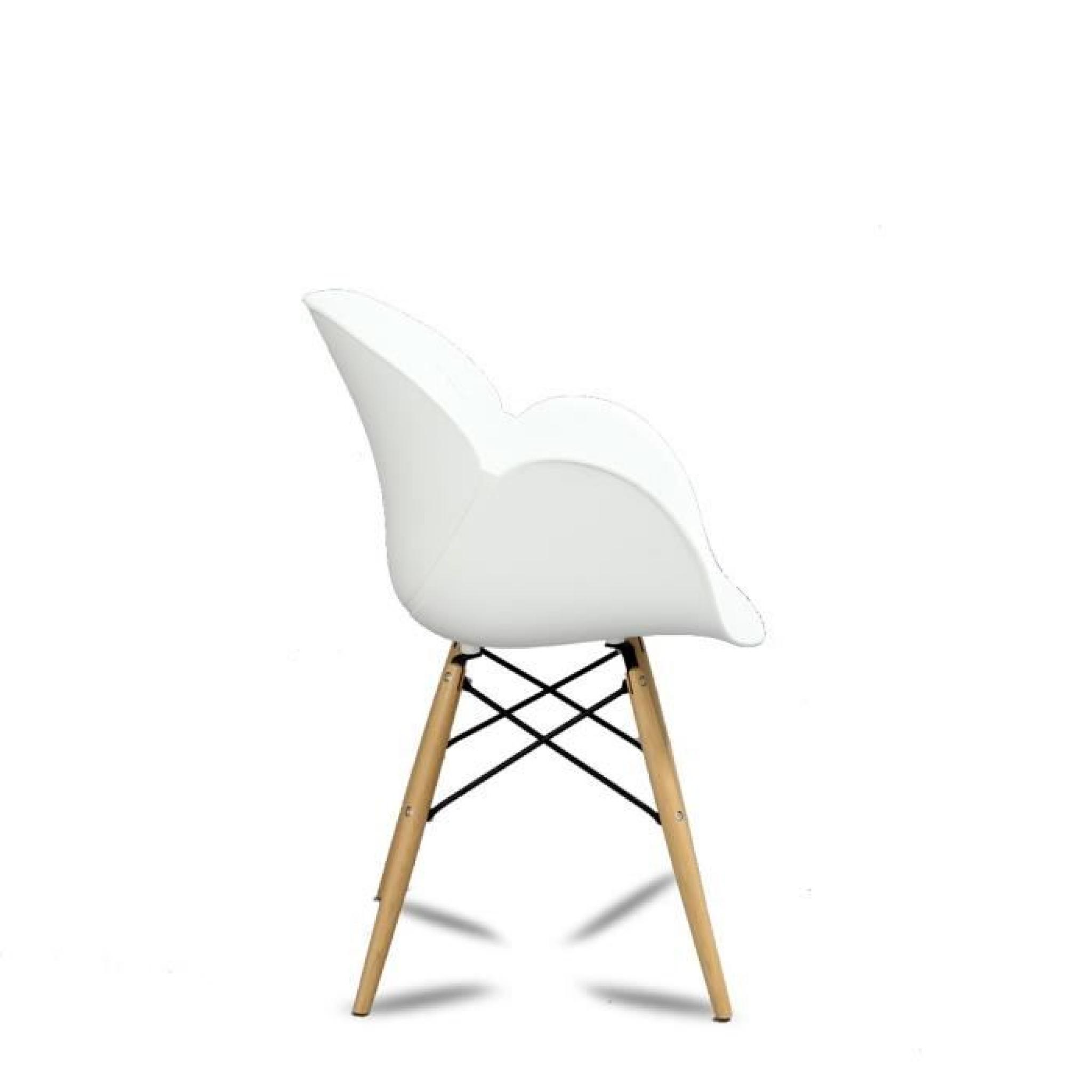 Lot de 2 chaises design ki oon couleur blanc achat vente for Table et chaise design pas cher