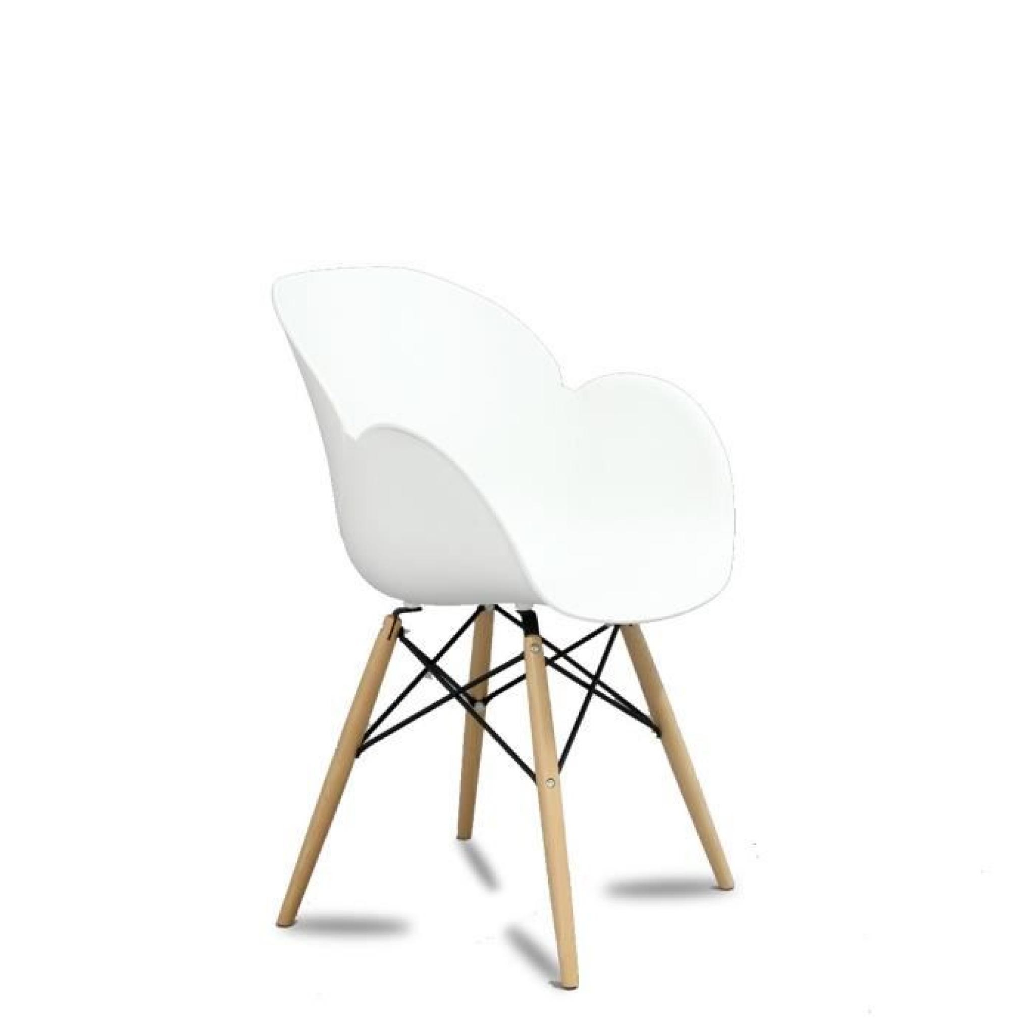 Lot de 2 chaises design ki oon couleur blanc achat vente for Lot de 8 chaise pas cher