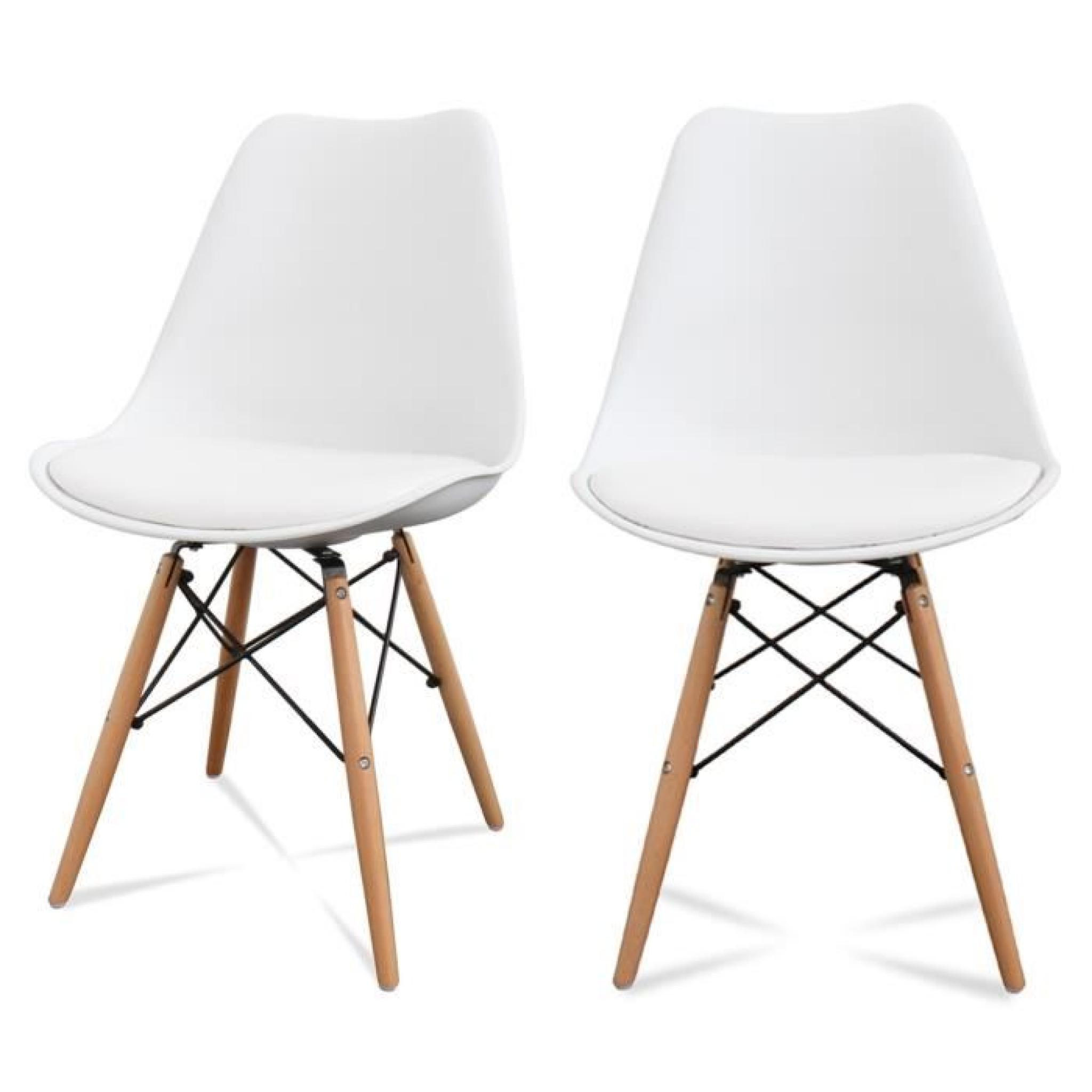Lot de 2 chaises design ormond dsw couleur blanc achat for Chaise design dsw blanche blanc