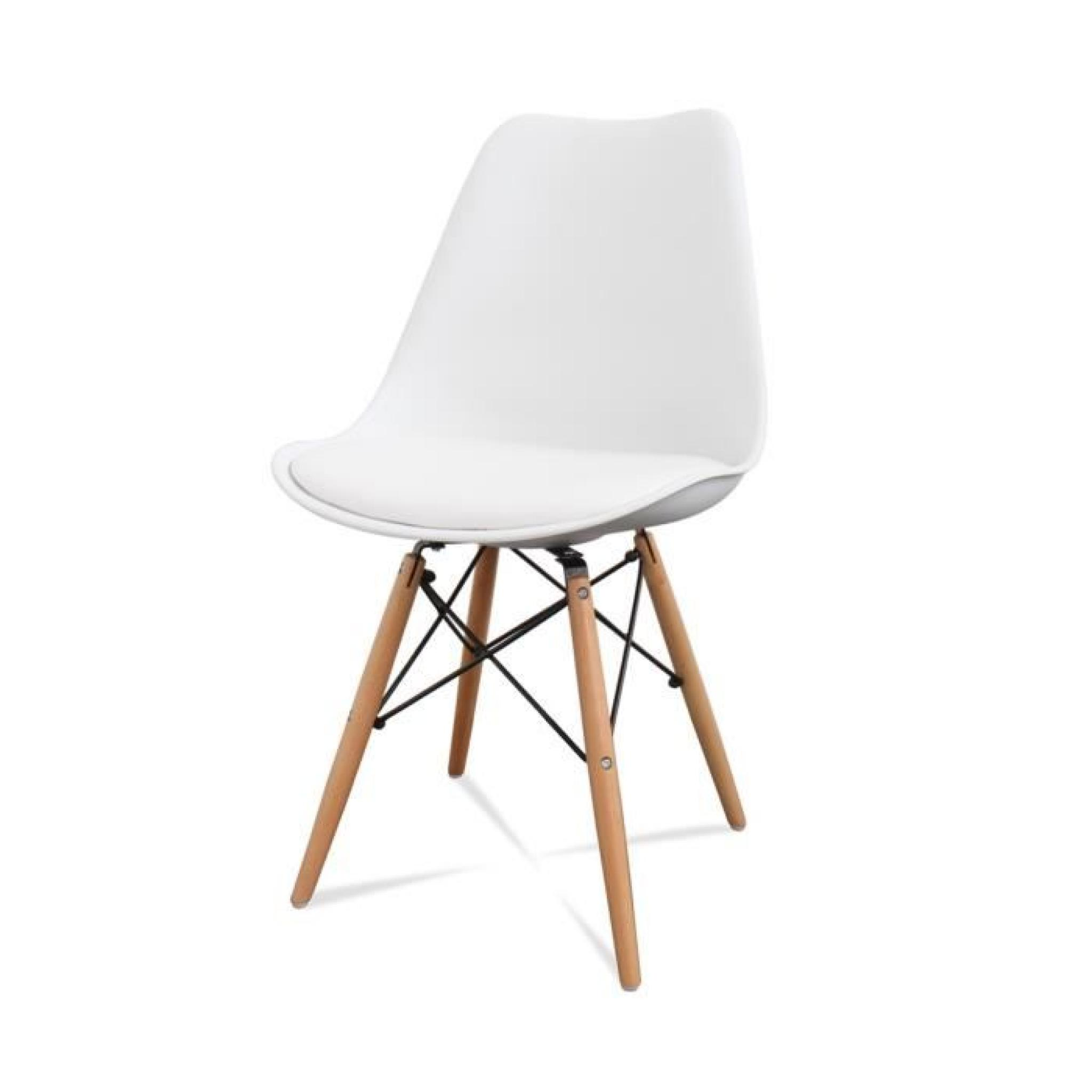 Lot de 2 chaises design ormond dsw couleur blanc achat for Lot de 8 chaise pas cher