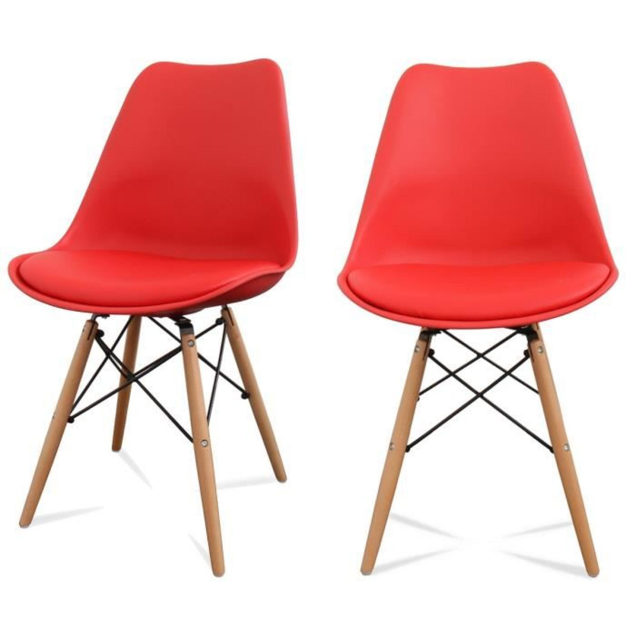 lot de 2 chaises design ormond dsw couleur rouge achat vente chaise salle a manger pas cher. Black Bedroom Furniture Sets. Home Design Ideas