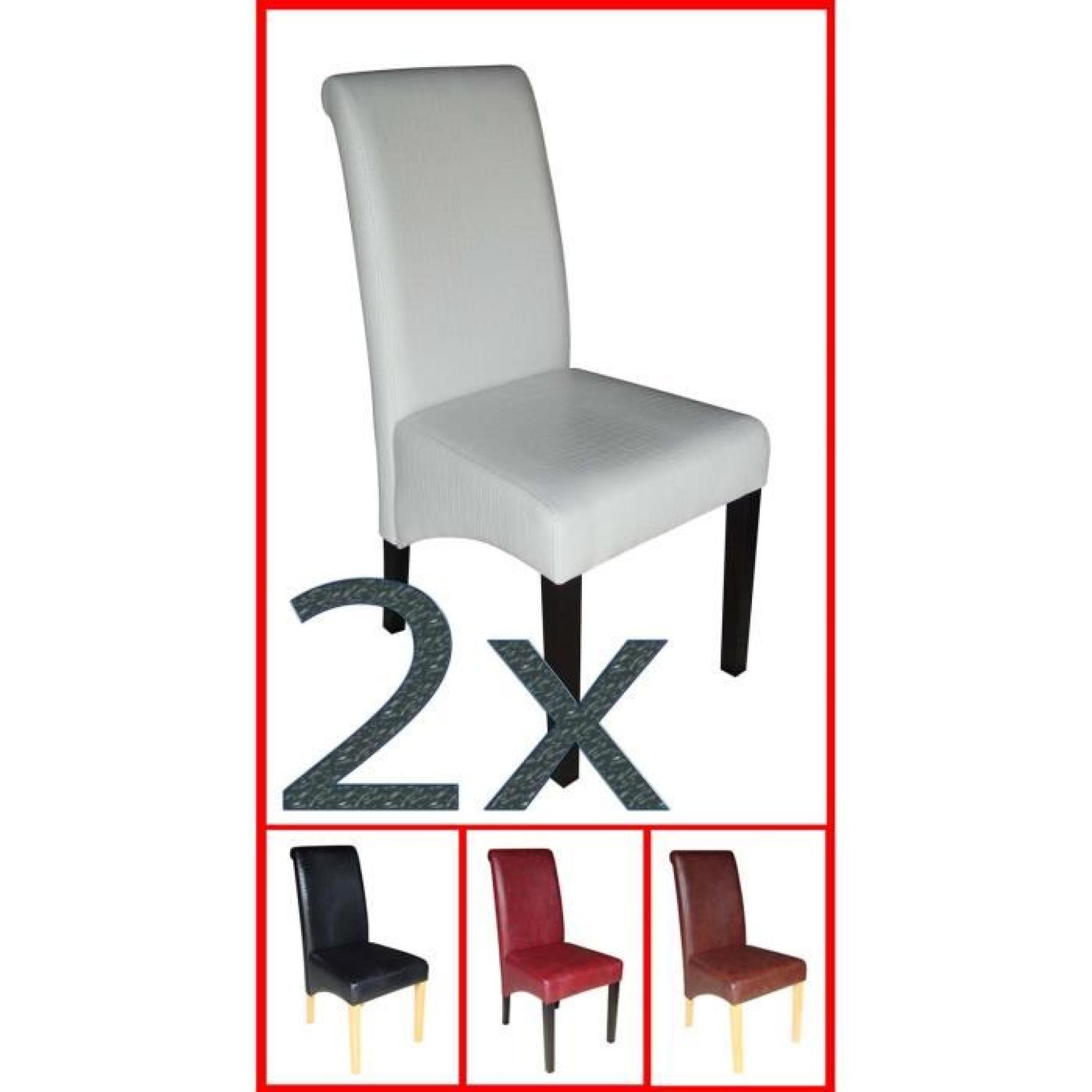 Lot de 2 chaises en pu coloris cr me forme de crocodile avec pieds noirs en - Chaise avec pied en bois ...