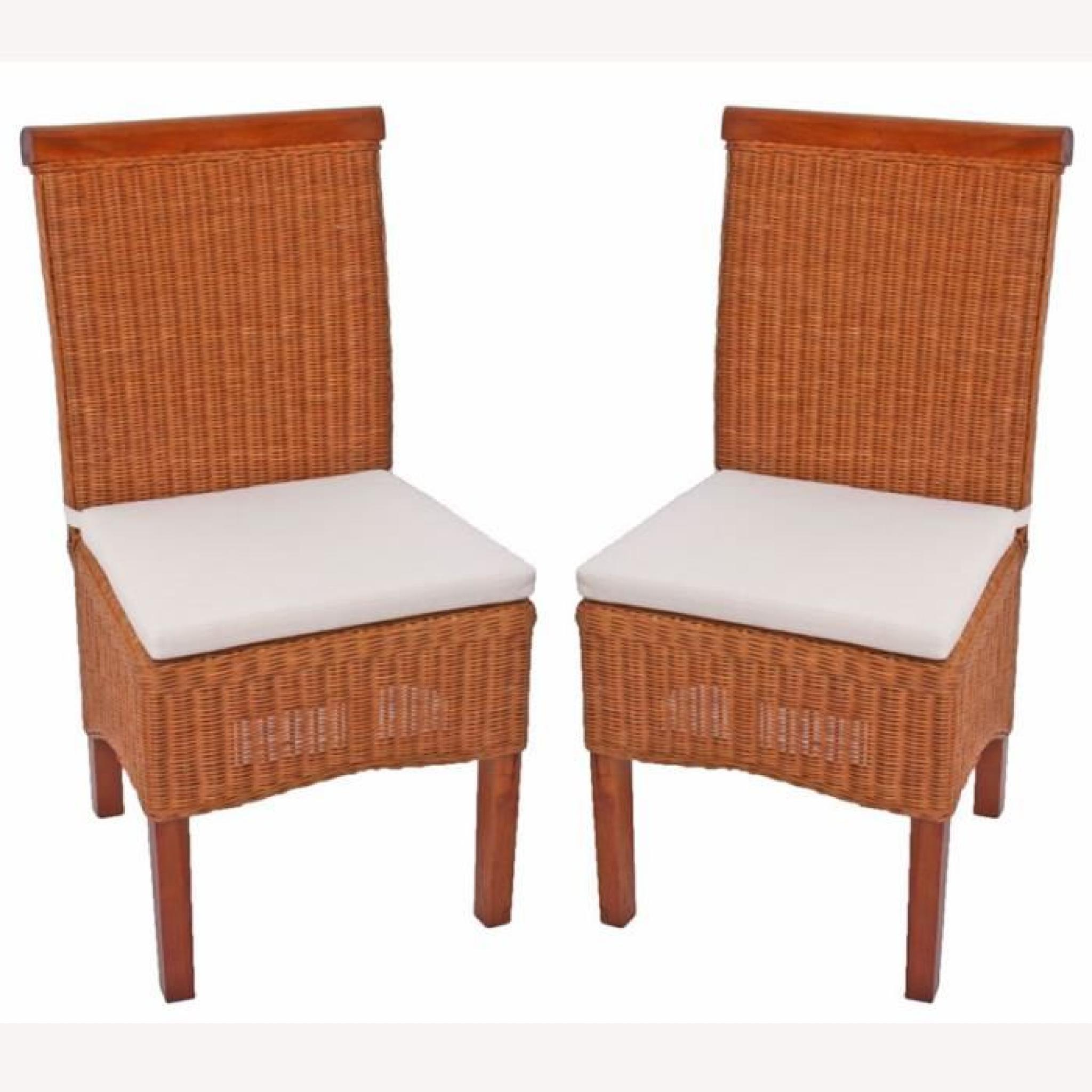 Lot de 2 chaises m42 salle manger rotin bois 46x50x96cm Chaise de salle a manger en rotin pas cher