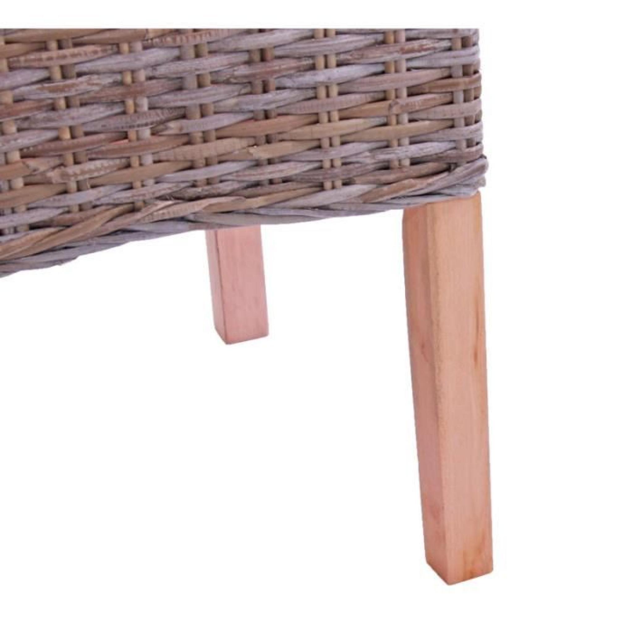 rotin kubu Lot de 2 chaises M44 avec coussins 47x52x97cm
