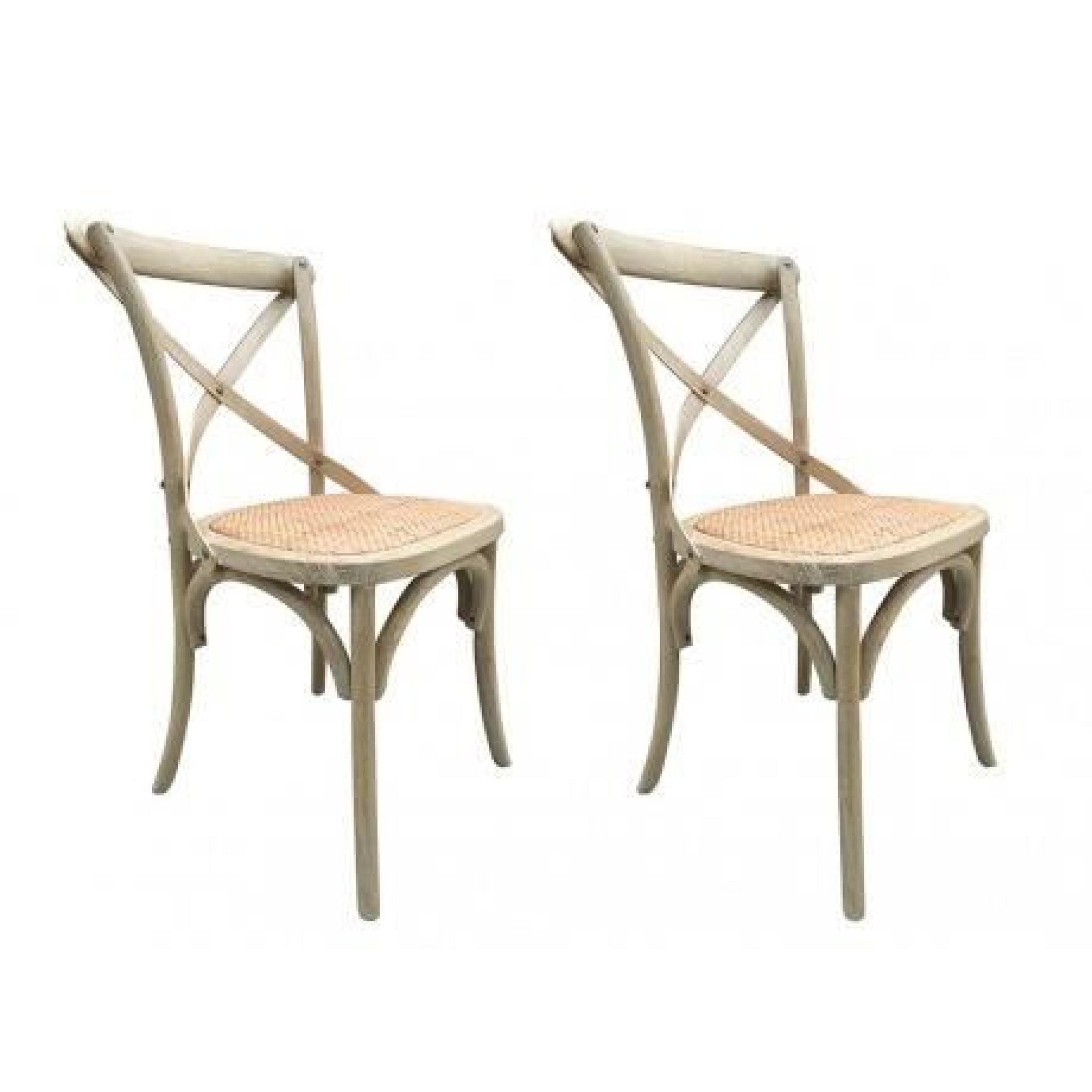 lot de 2 chaises panya bois et assise en rotin naturel achat vente chaise salle a manger. Black Bedroom Furniture Sets. Home Design Ideas