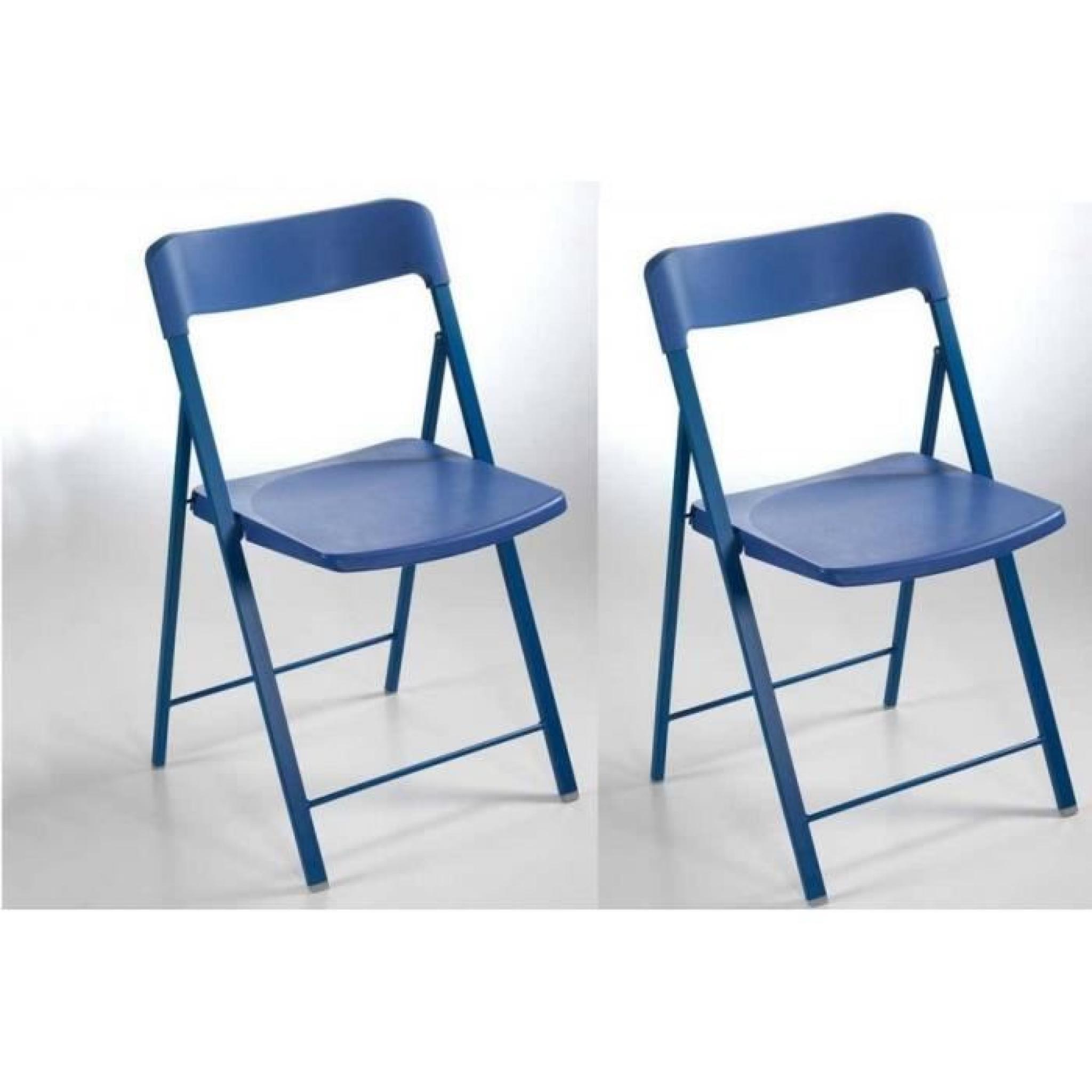 lot de 2 chaises pliantes kully en plastique bleu achat. Black Bedroom Furniture Sets. Home Design Ideas
