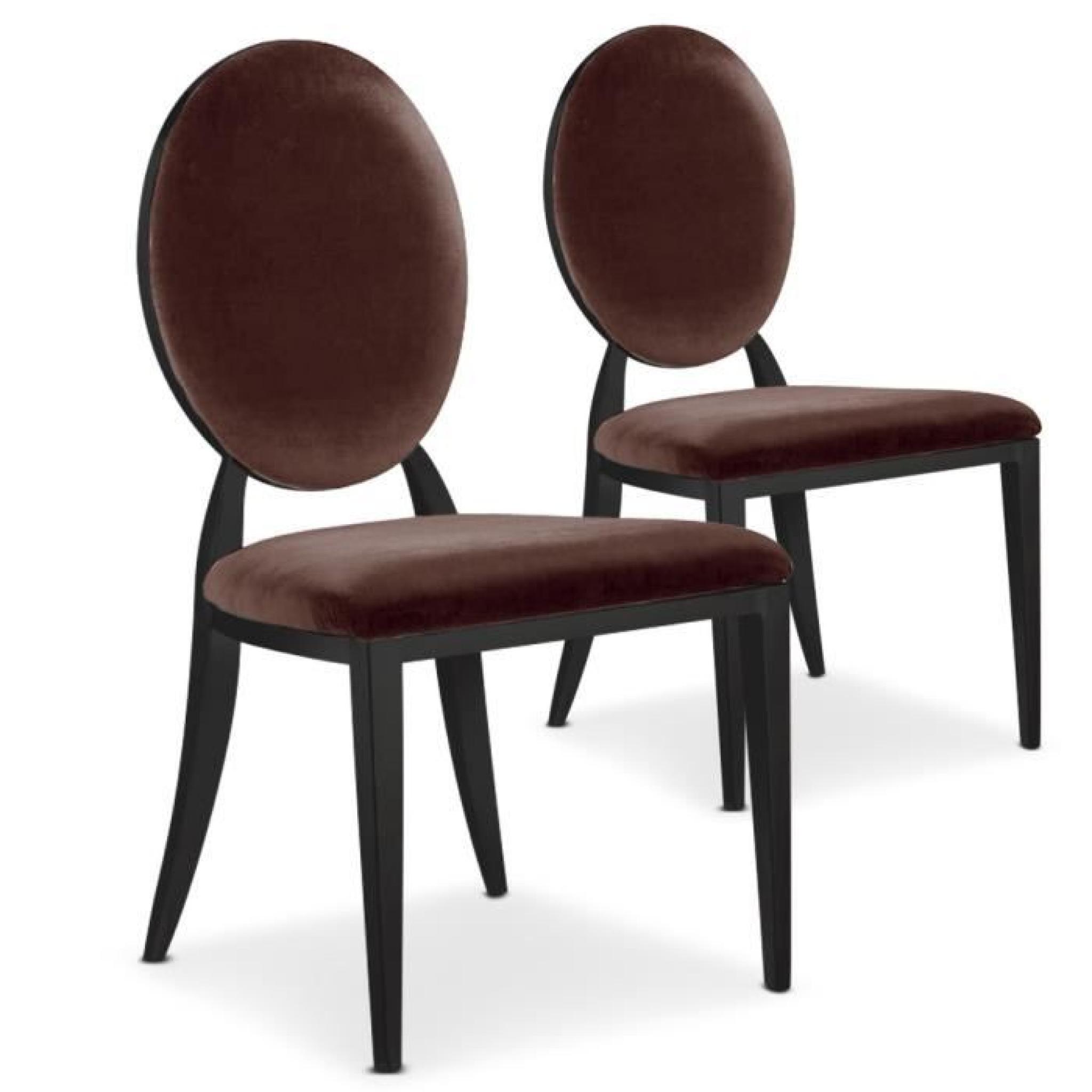 de chaises Sofia Marron Lot 2 Black velours E2W9DIYH