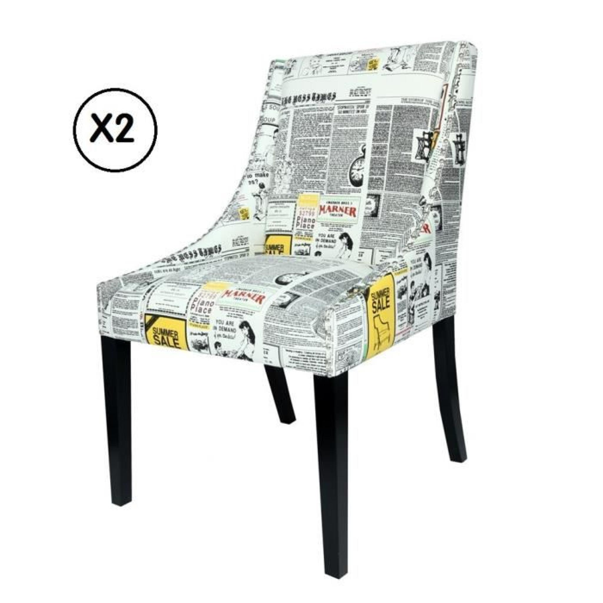 Lot de 2 chaises Swithome Newspaper tissu