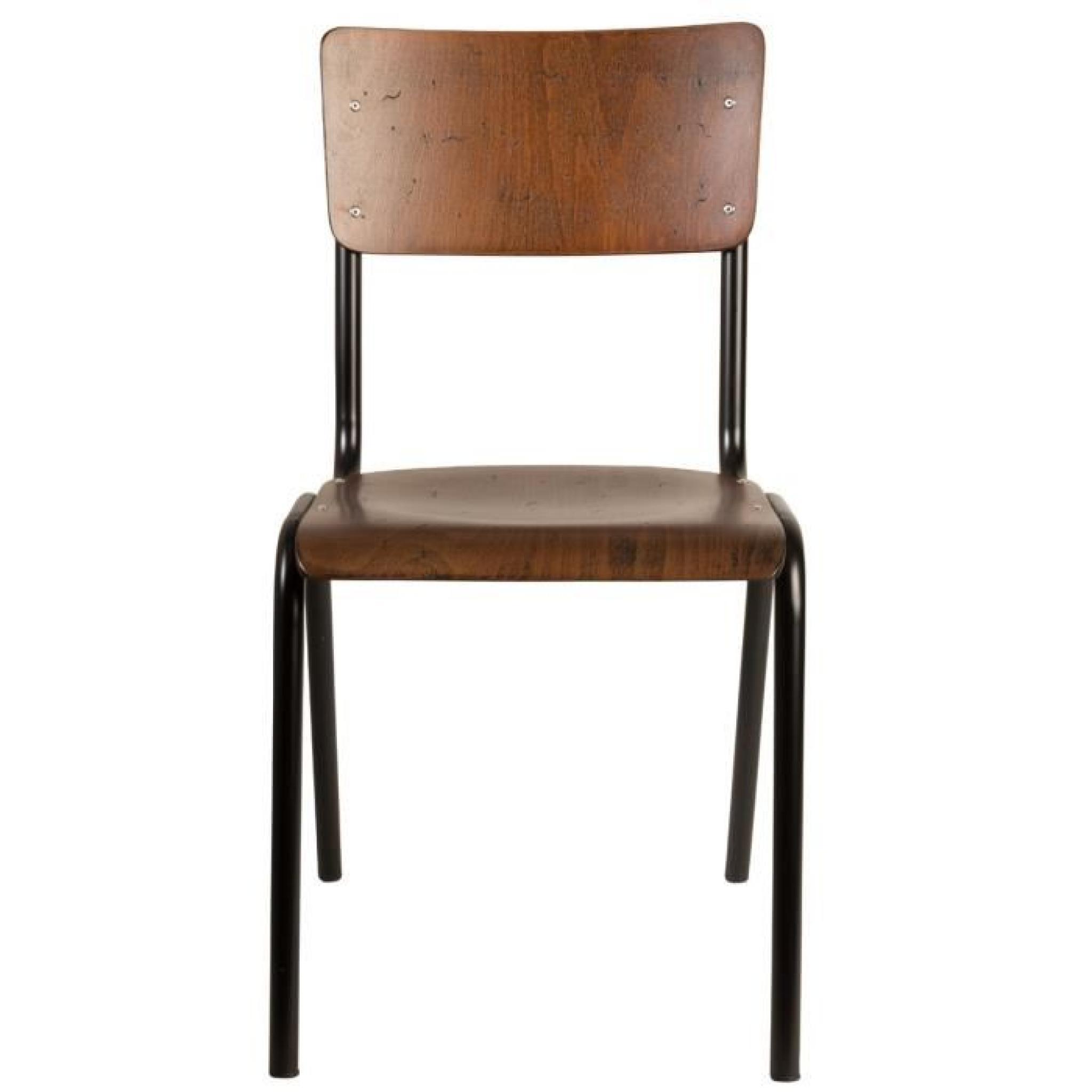 Lot de 2 chaises vintage m tal bois scuola couleur marron for Chaise marron pas cher