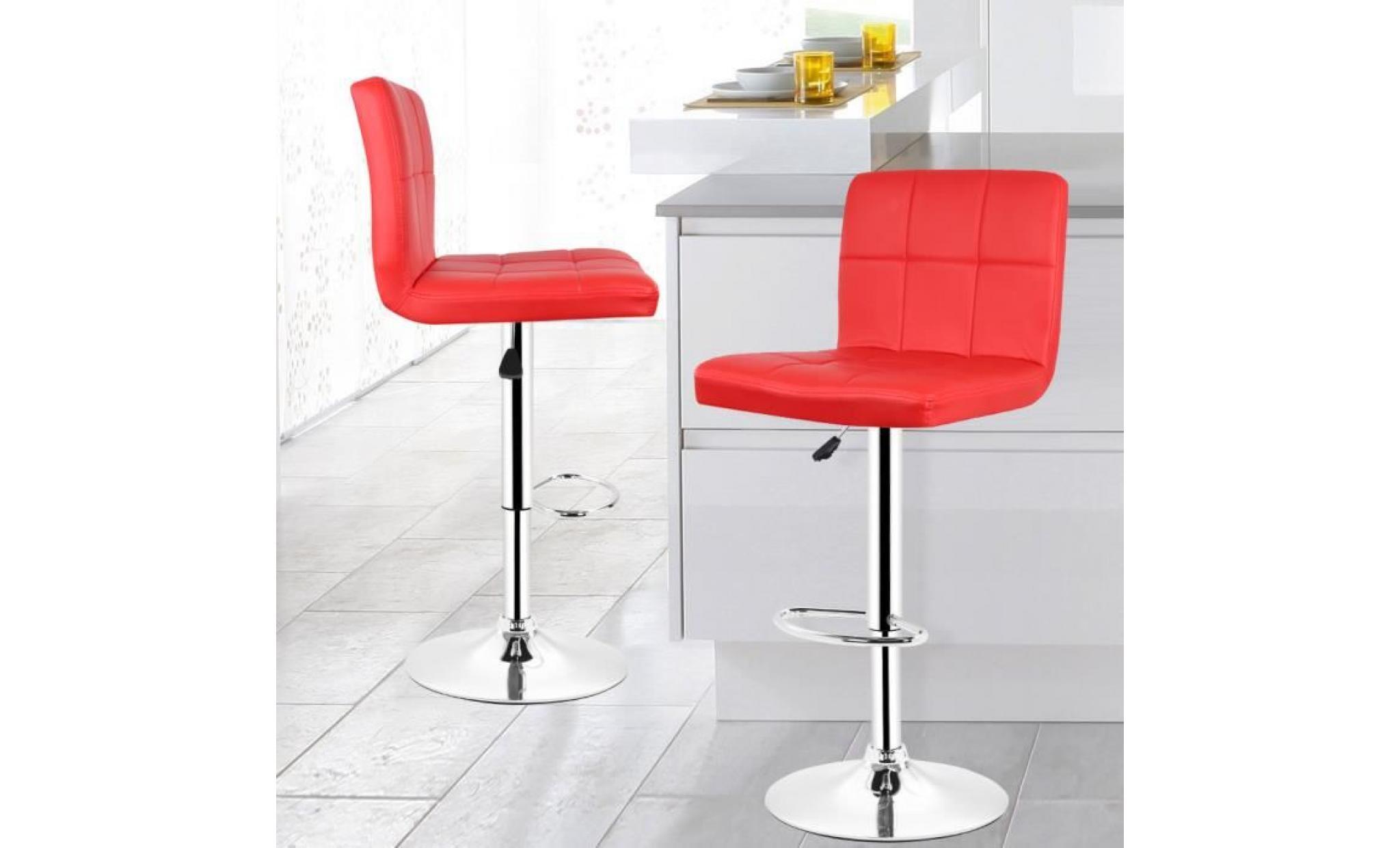 Lot De 2 Tabouret Bar Chaise Rouge En Hauteur Reglable Pas Cher