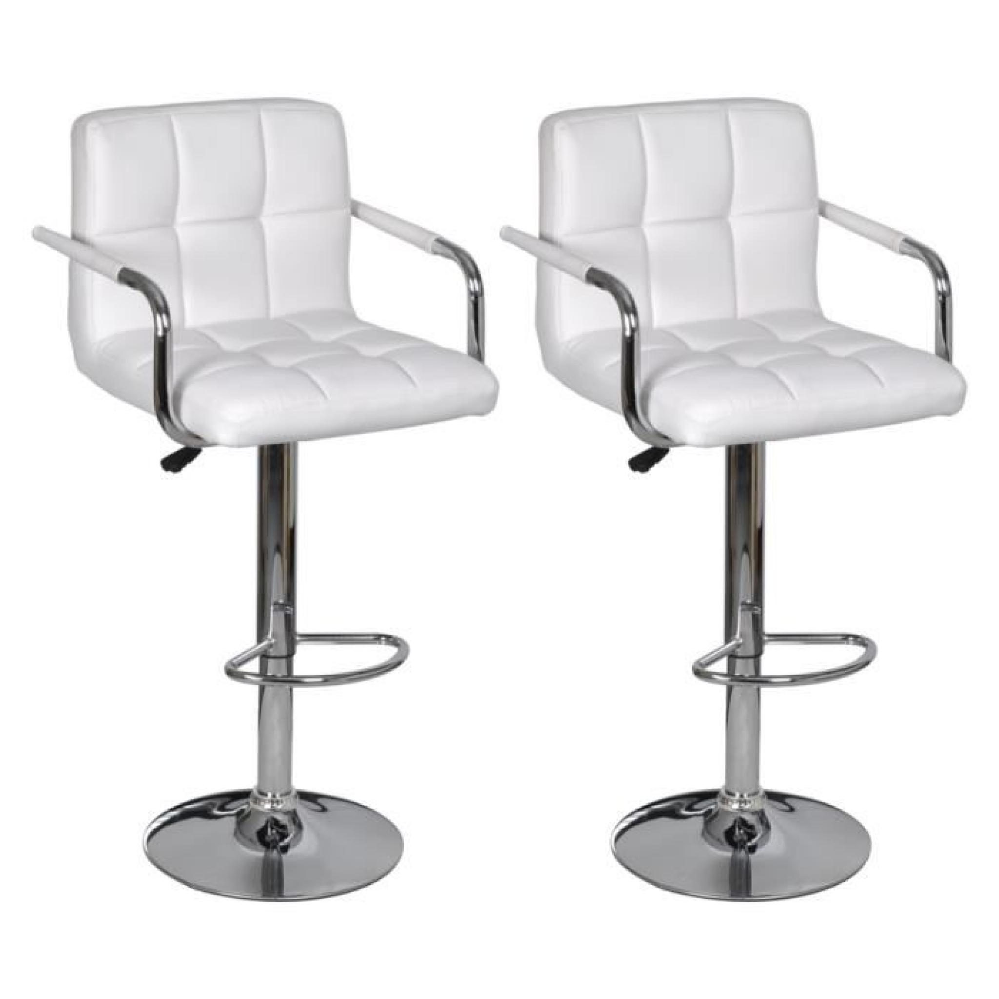 lot de 2 tabourets de bar blancs avec accoudoirs achat vente tabouret de bar pas cher. Black Bedroom Furniture Sets. Home Design Ideas