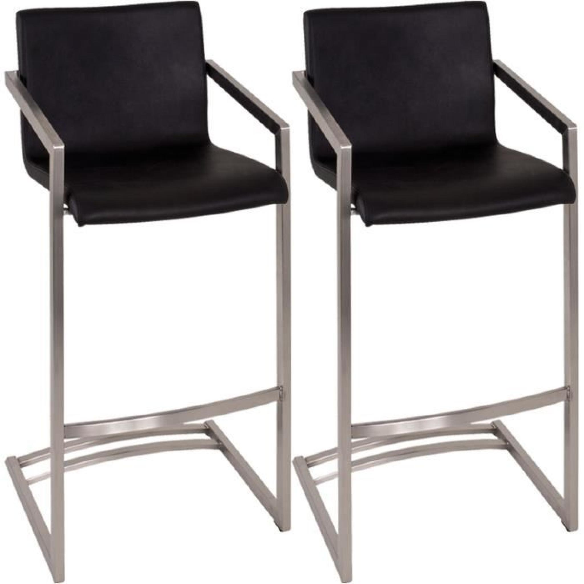 lot de 2 tabourets de bar en inox poli coloris achat vente tabouret de bar pas cher. Black Bedroom Furniture Sets. Home Design Ideas