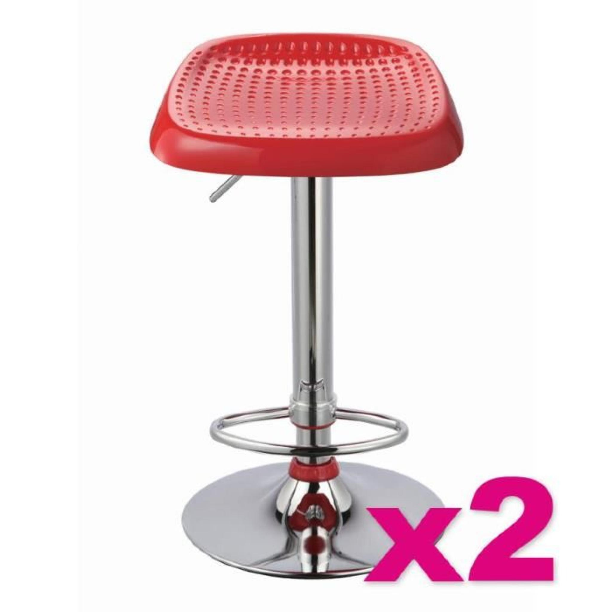 Lot de 2 tabourets de bar manhattan rouge achat vente tabouret de bar pas c - Tabouret de bar rouge pas cher ...