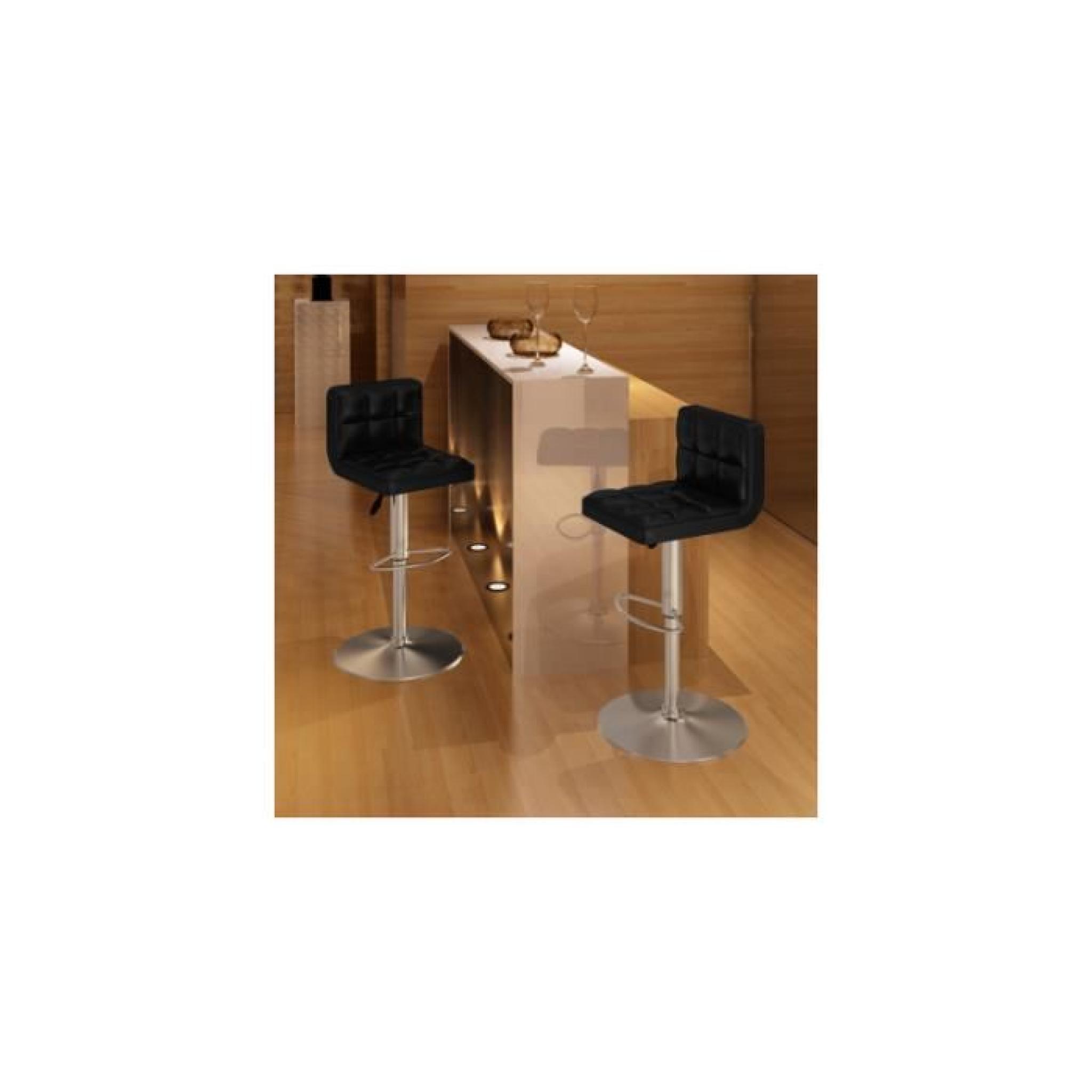 lot de 2 tabourets de bar noirs hauteur r glable achat vente tabouret de bar pas cher. Black Bedroom Furniture Sets. Home Design Ideas