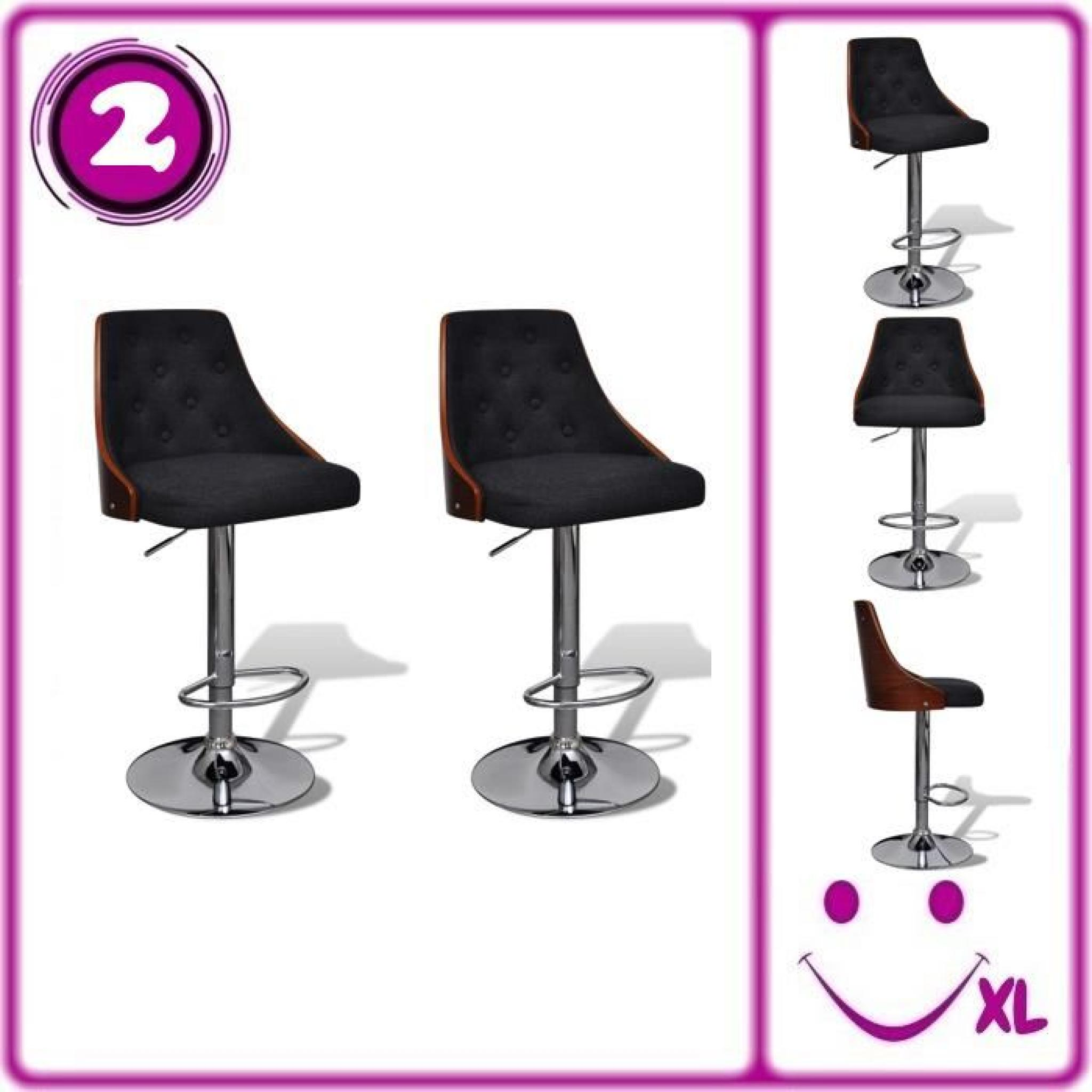 lot de 2 tabourets de bar r glables avec dossier achat. Black Bedroom Furniture Sets. Home Design Ideas