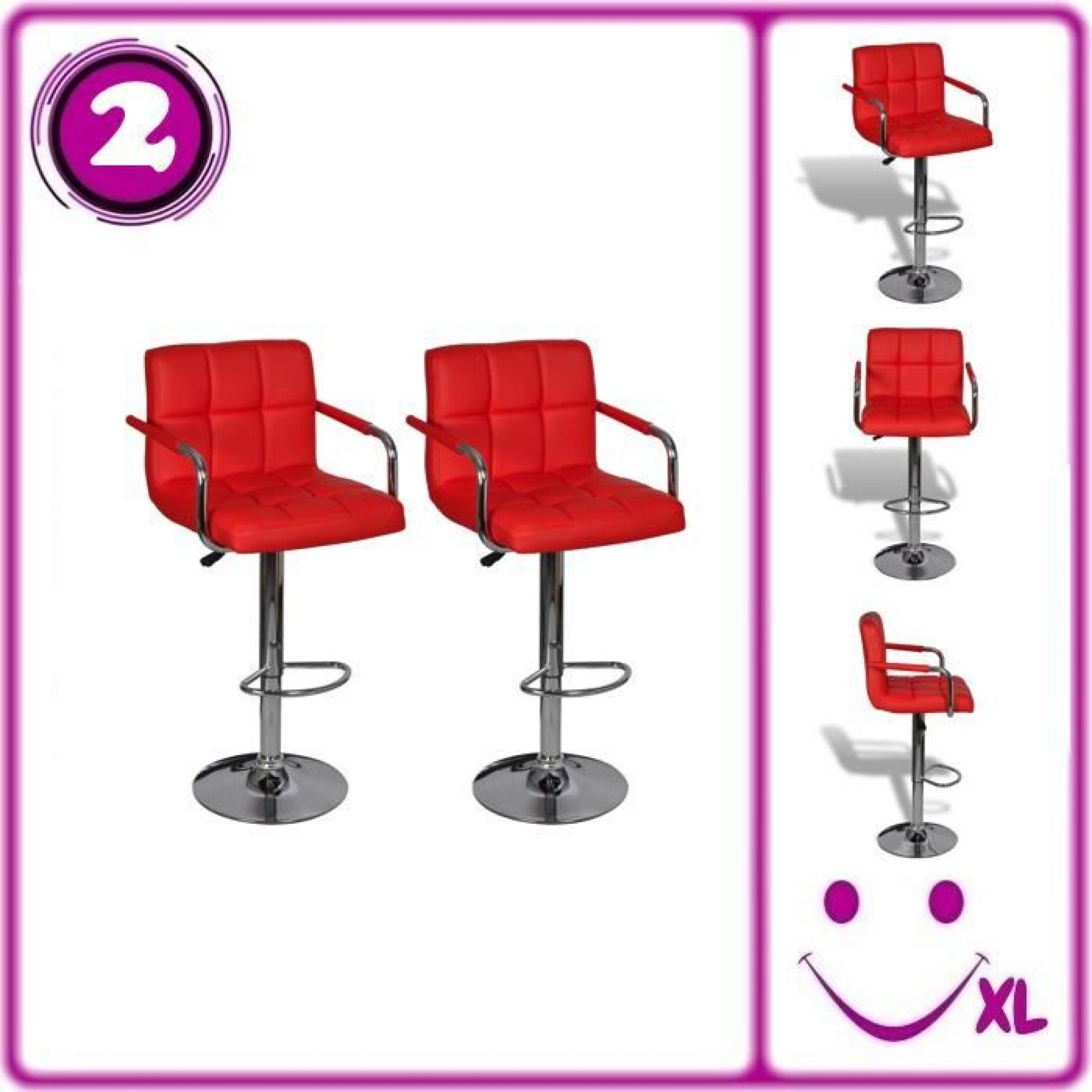 lot de 2 tabourets de bar rouges avec accoudoirs achat vente tabouret de bar pas cher. Black Bedroom Furniture Sets. Home Design Ideas