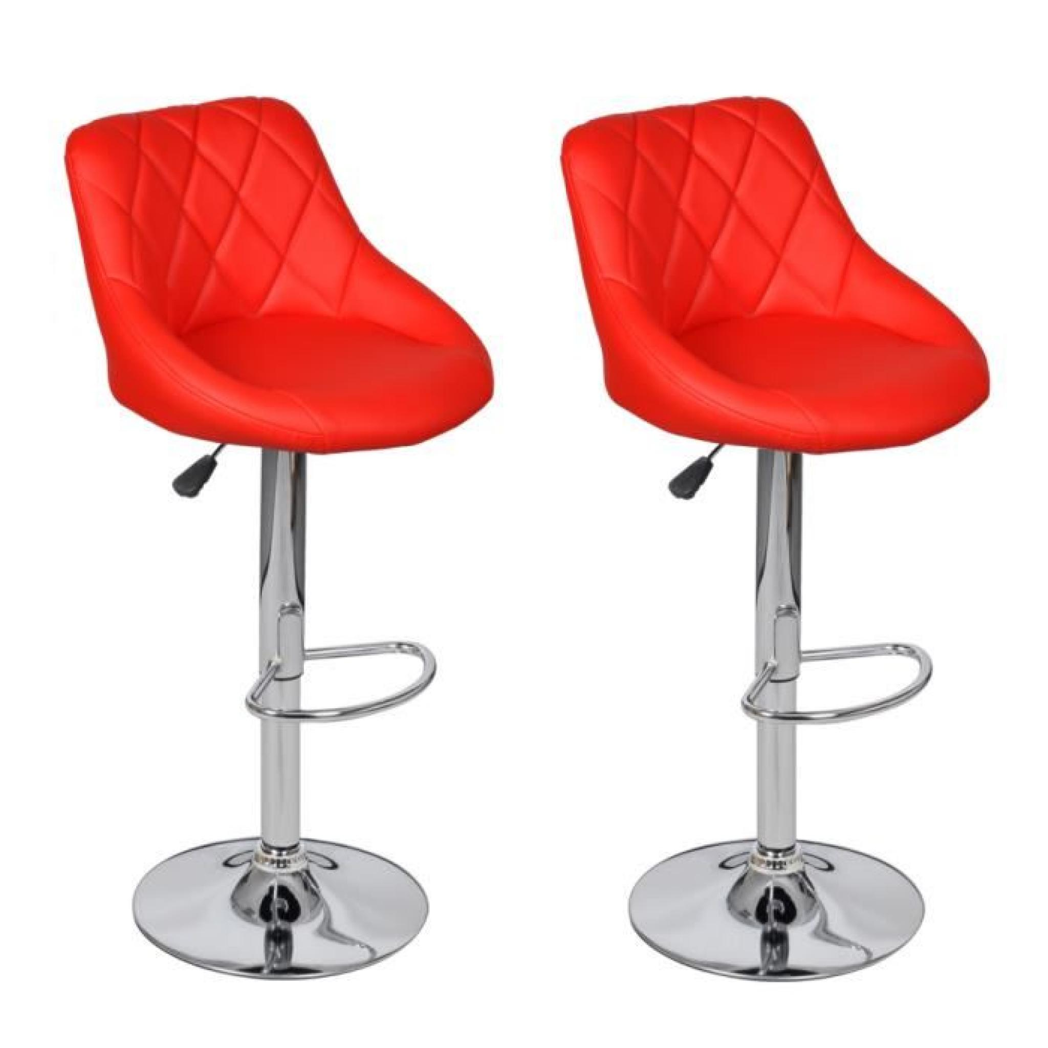 lot de 2 tabourets de bar rouges design moderne achat. Black Bedroom Furniture Sets. Home Design Ideas